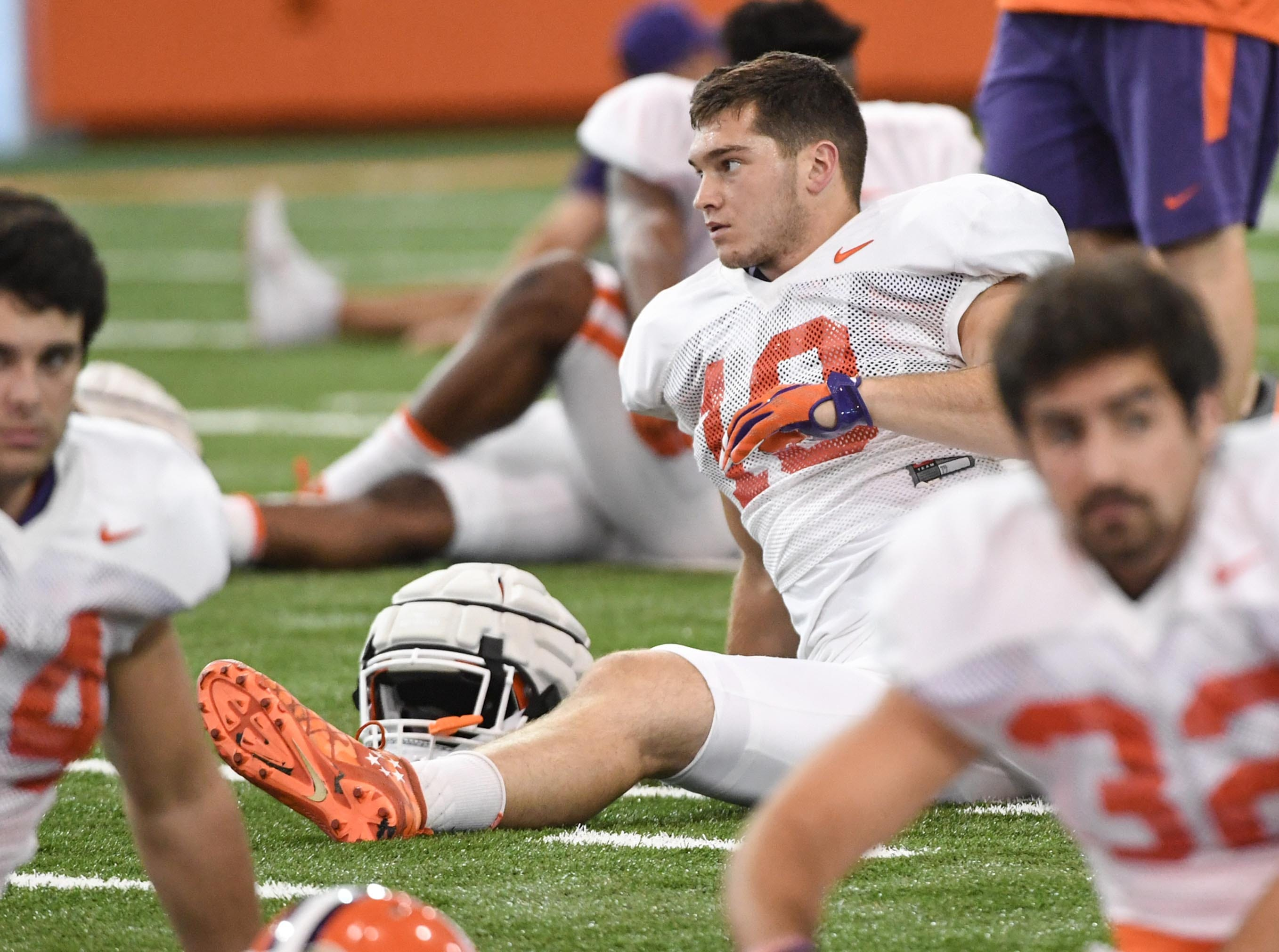 Clemson linebacker Baylon Spector (10) during fall practice in Clemson on Wednesday.