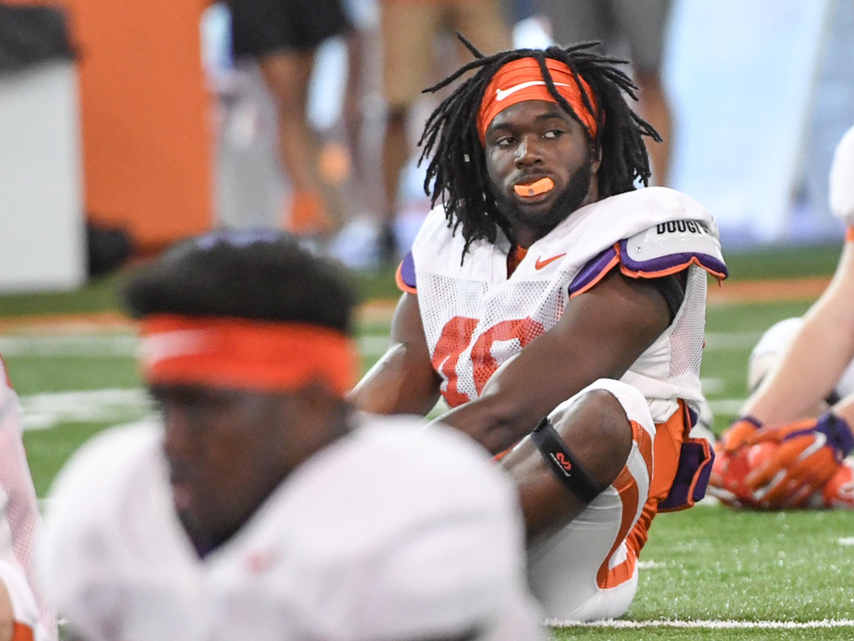 Clemson safety Hall Morton (40) during fall practice in Clemson on Wednesday.