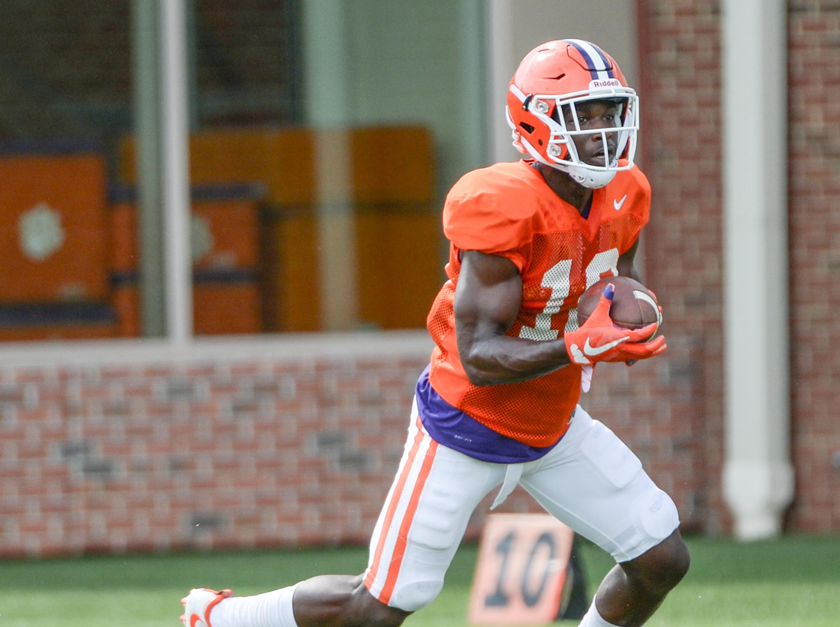Clemson wide receiver Derion Kendrick (10) during fall practice in Clemson on Wednesday.