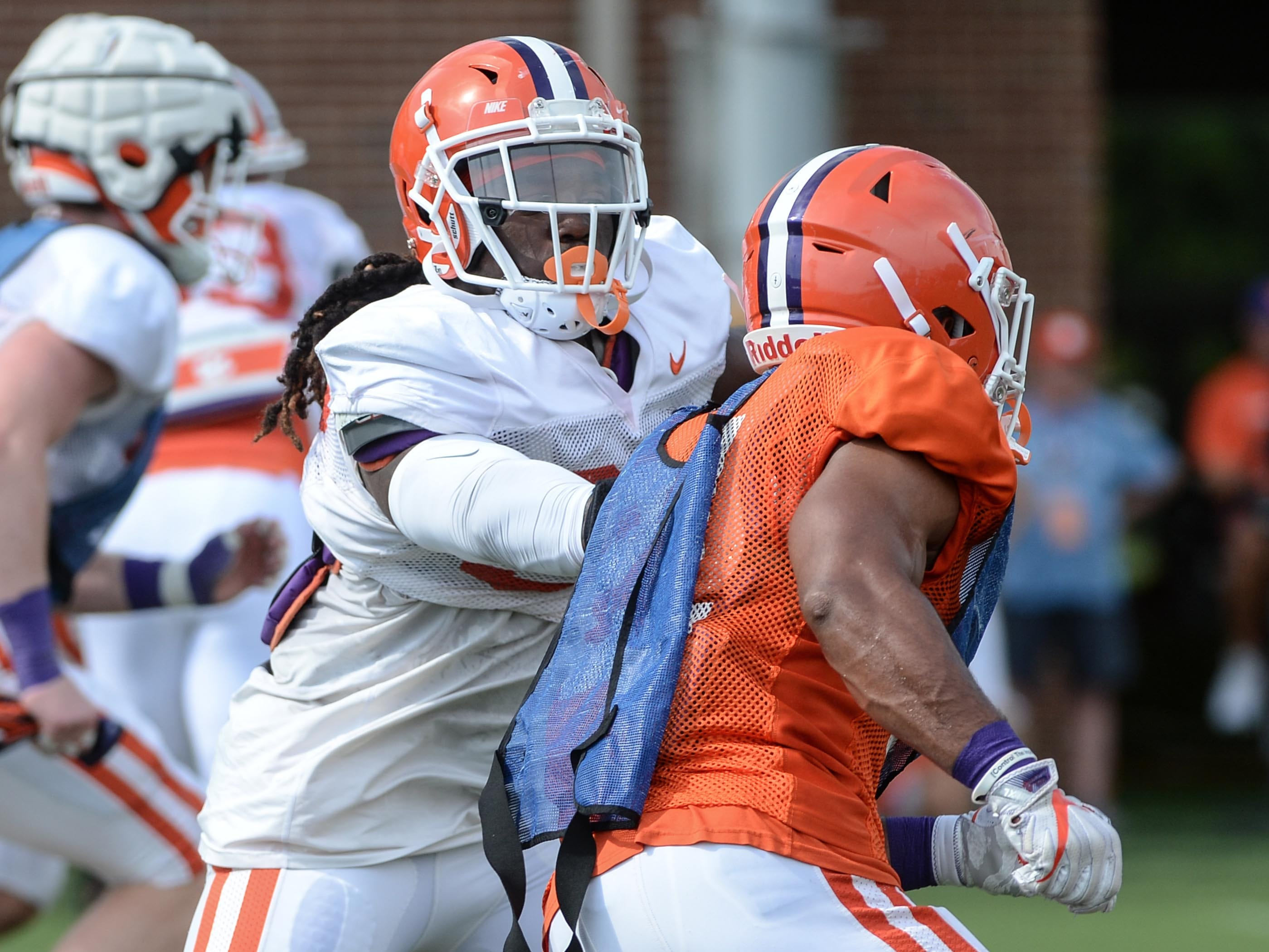 Clemson linebacker Jalen Williams (30) during fall practice in Clemson on Wednesday.