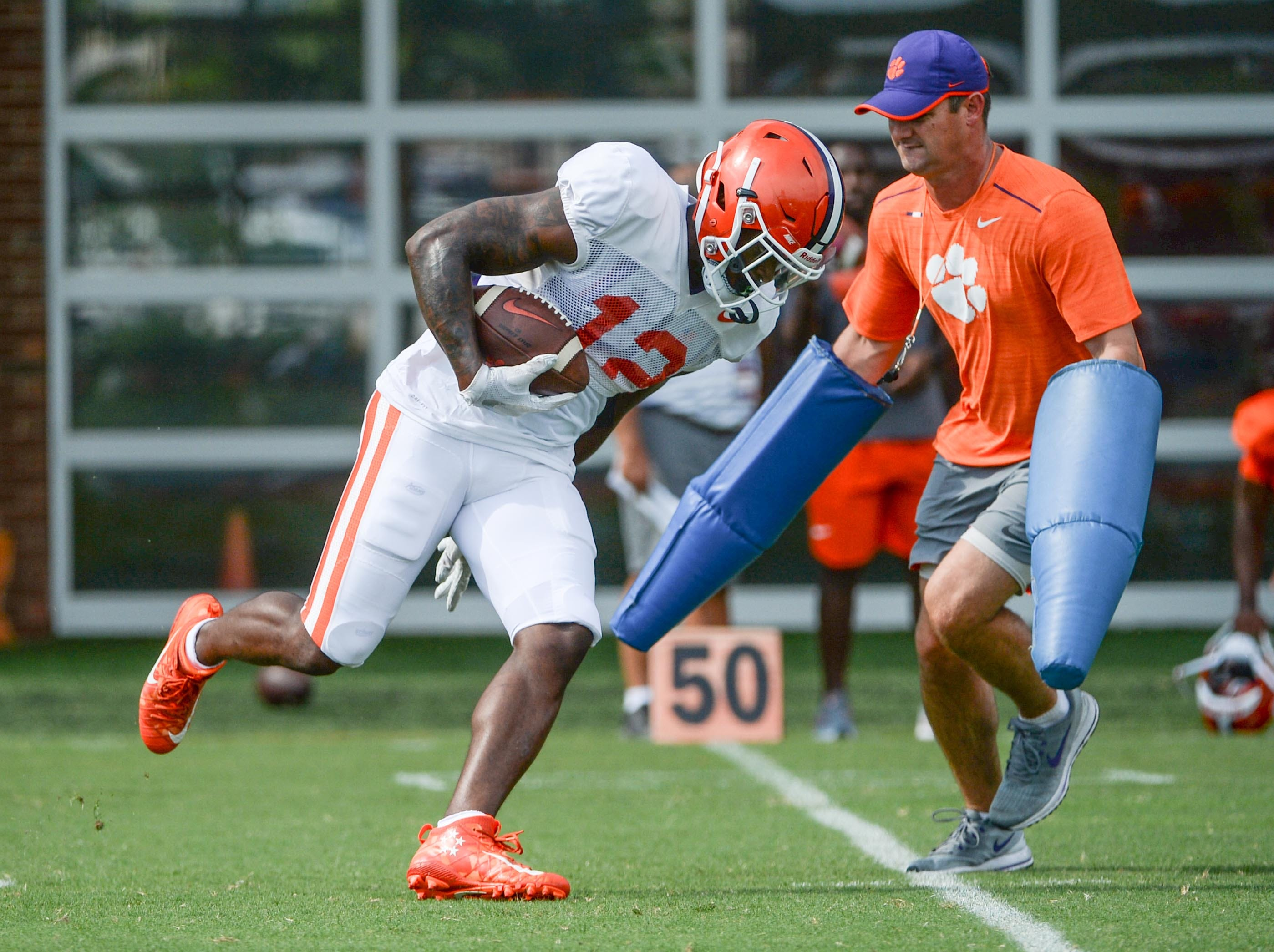 Clemson defensive back K'Von Wallace (12) during fall practice in Clemson on Wednesday.