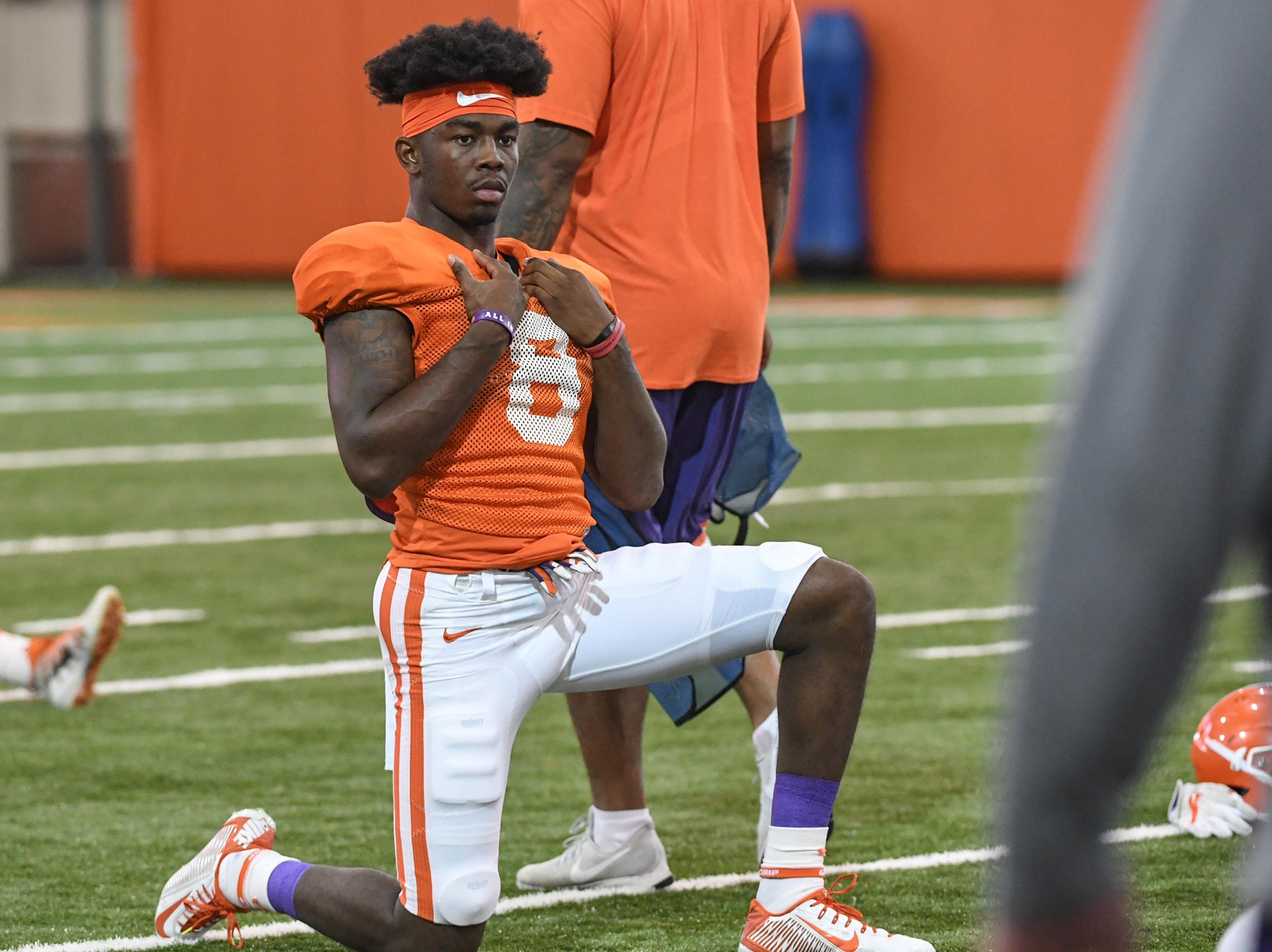 Clemson wide receiver Justyn Ross (8) during fall practice in Clemson on Wednesday.