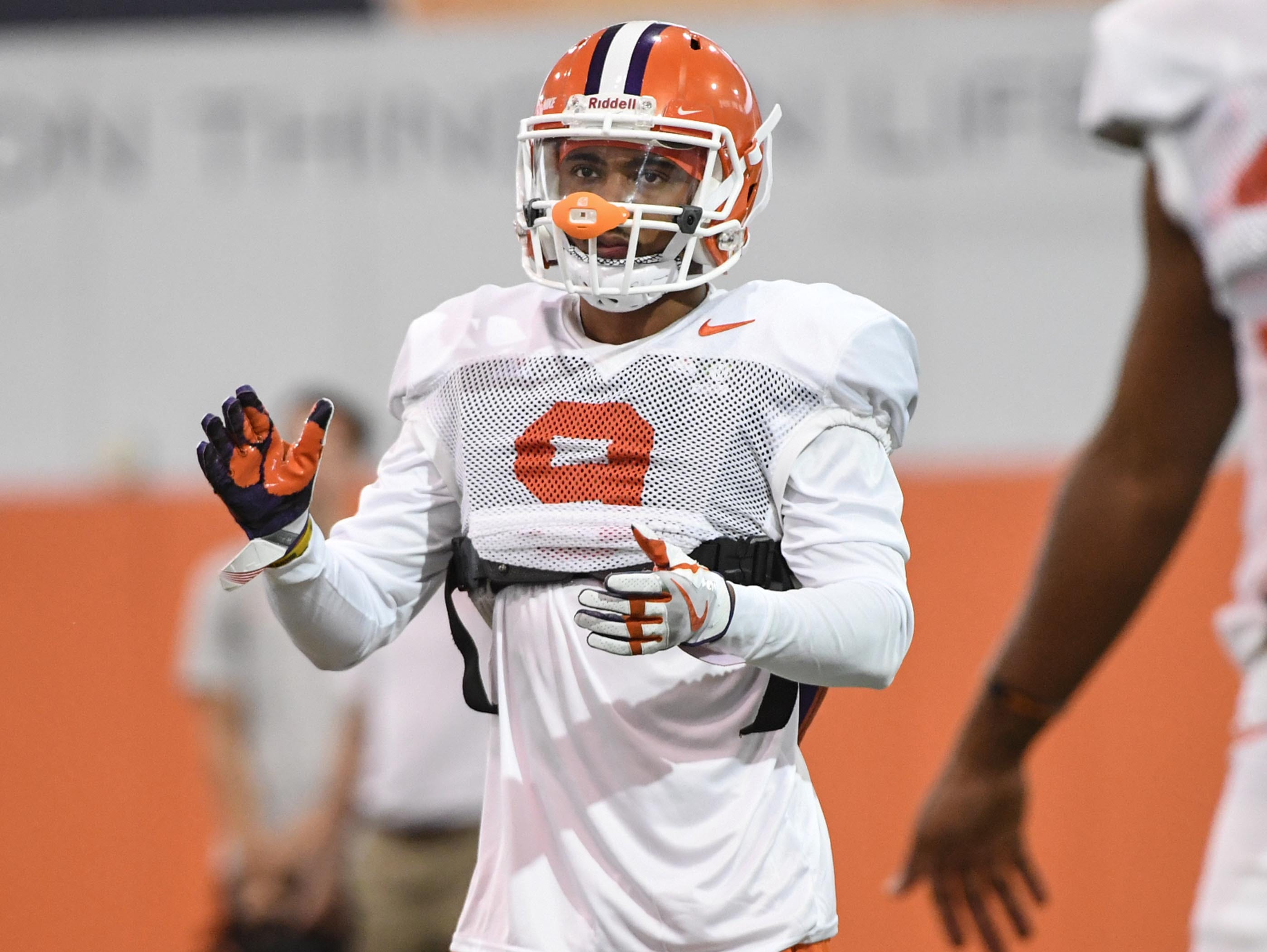 Cornerback Brian Dawkins Jr. (9) during fall practice in Clemson on Wednesday.