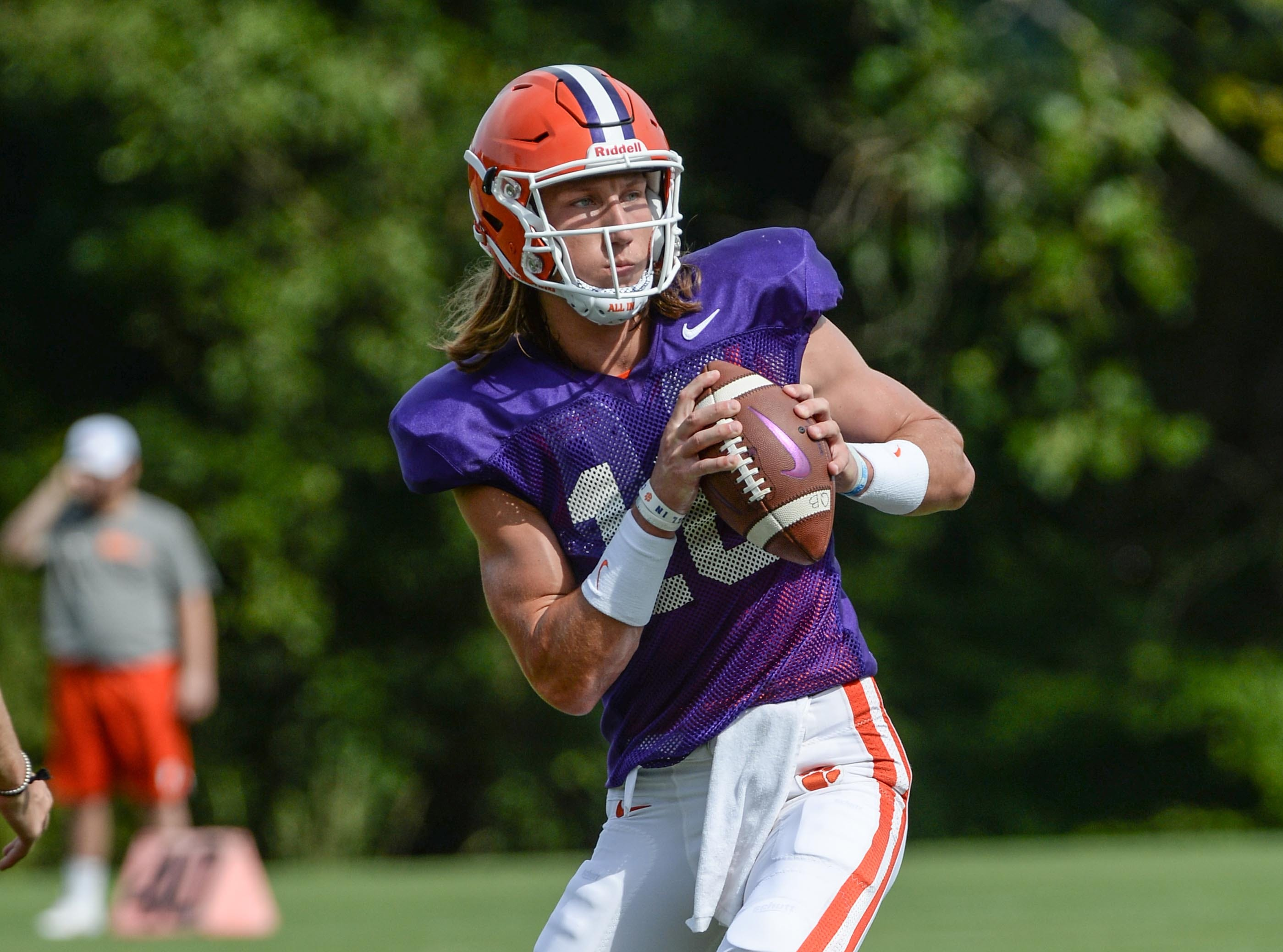Clemson quarterback Trevor Lawrence (16) during fall practice in Clemson on Wednesday.