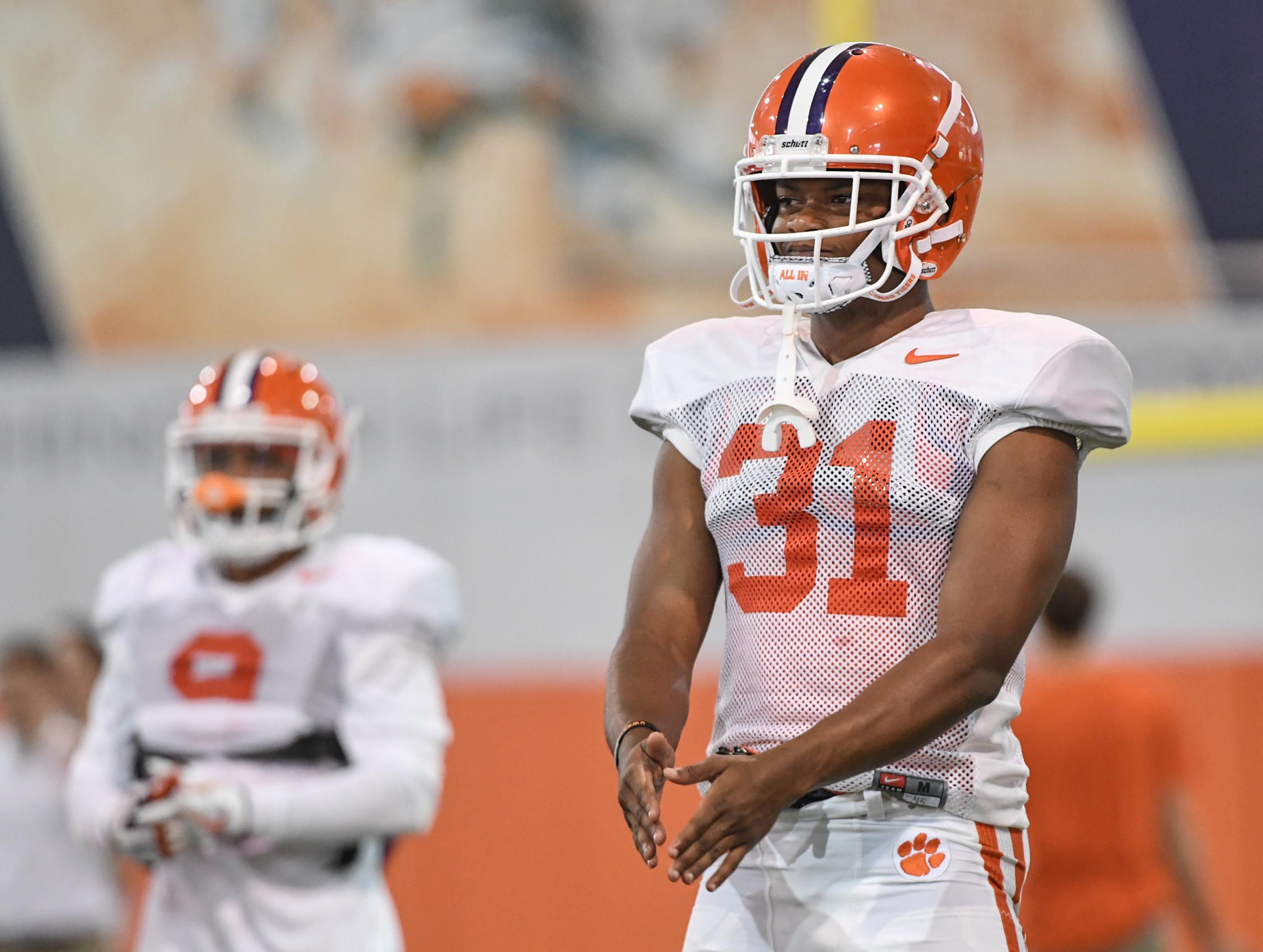 Clemson defensive back Mario Goodrich (31) during fall practice in Clemson on Wednesday.
