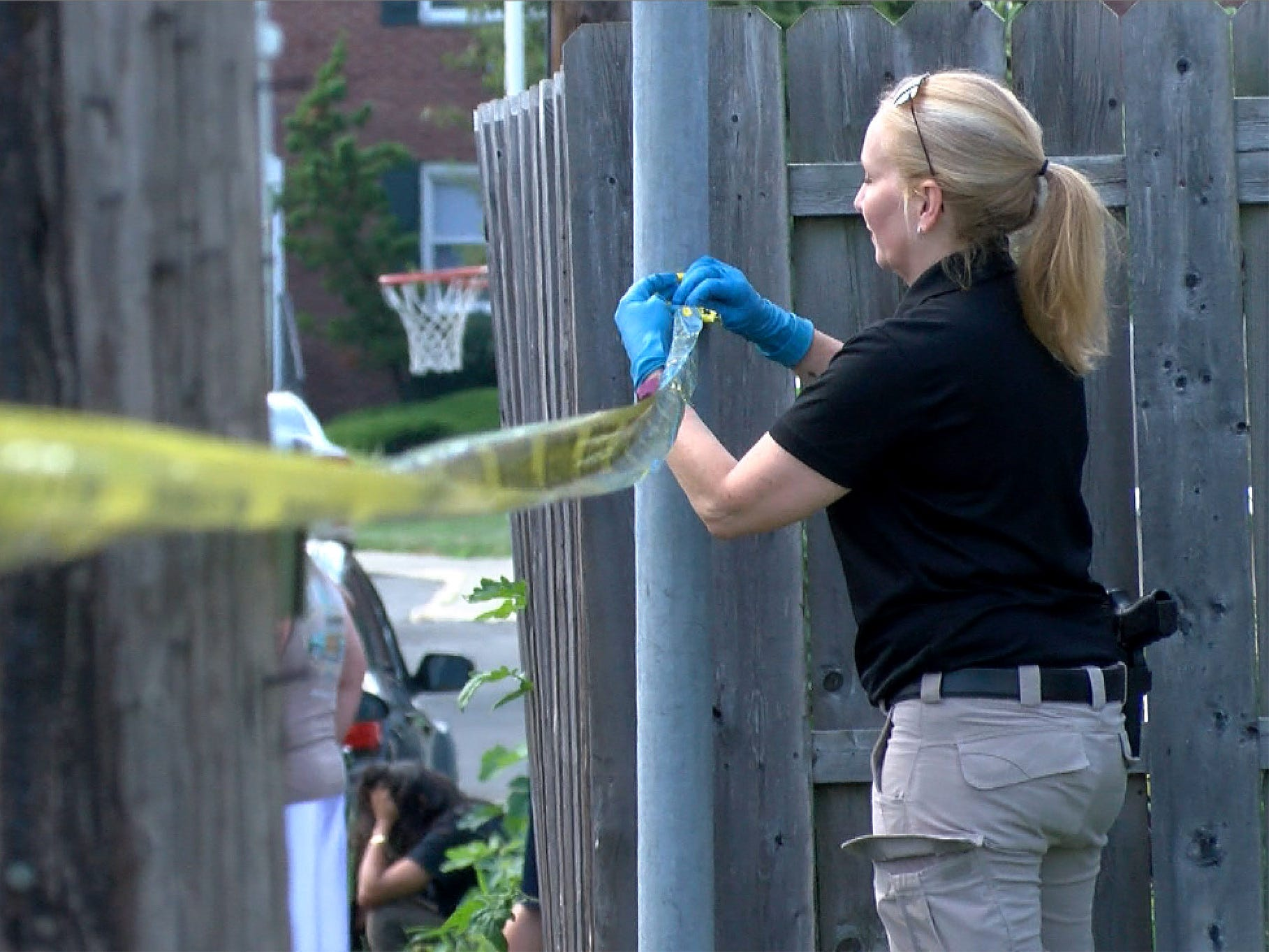 Crime scene taped is put up around a Center Street apartment build in Keyport Thursday afternoon, August 9, 2018, where a man was apparently shot.