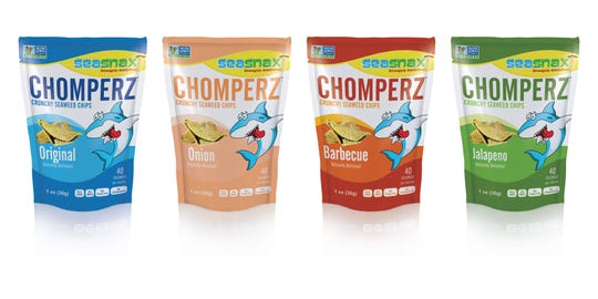 """Strangely addictive"" is the teen-friendly slogan for Chomperz seaweed snacks."