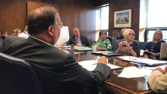 The Ocean County freeholders and their department heads discuss emergency repairs that must be made to the Richard E. Lane Bridge in Point Pleasant Beach, while meeting for an agenda session at the county administration building in Toms River on Wednesday.