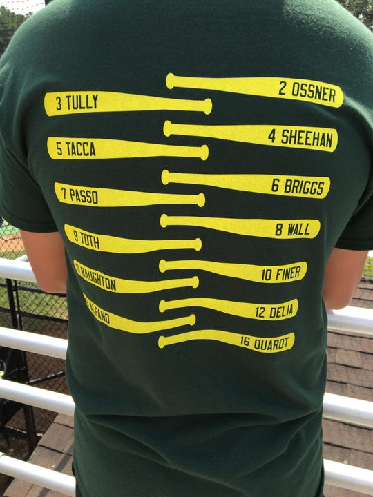 "Here is the back of the ""Green Machine"" T-Shirts for Middletown Little League"