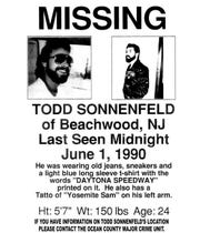 Missing posters, like this one, were plastered all over Beachwood and surrounding areas after Todd Sonnenfeld disappeared.