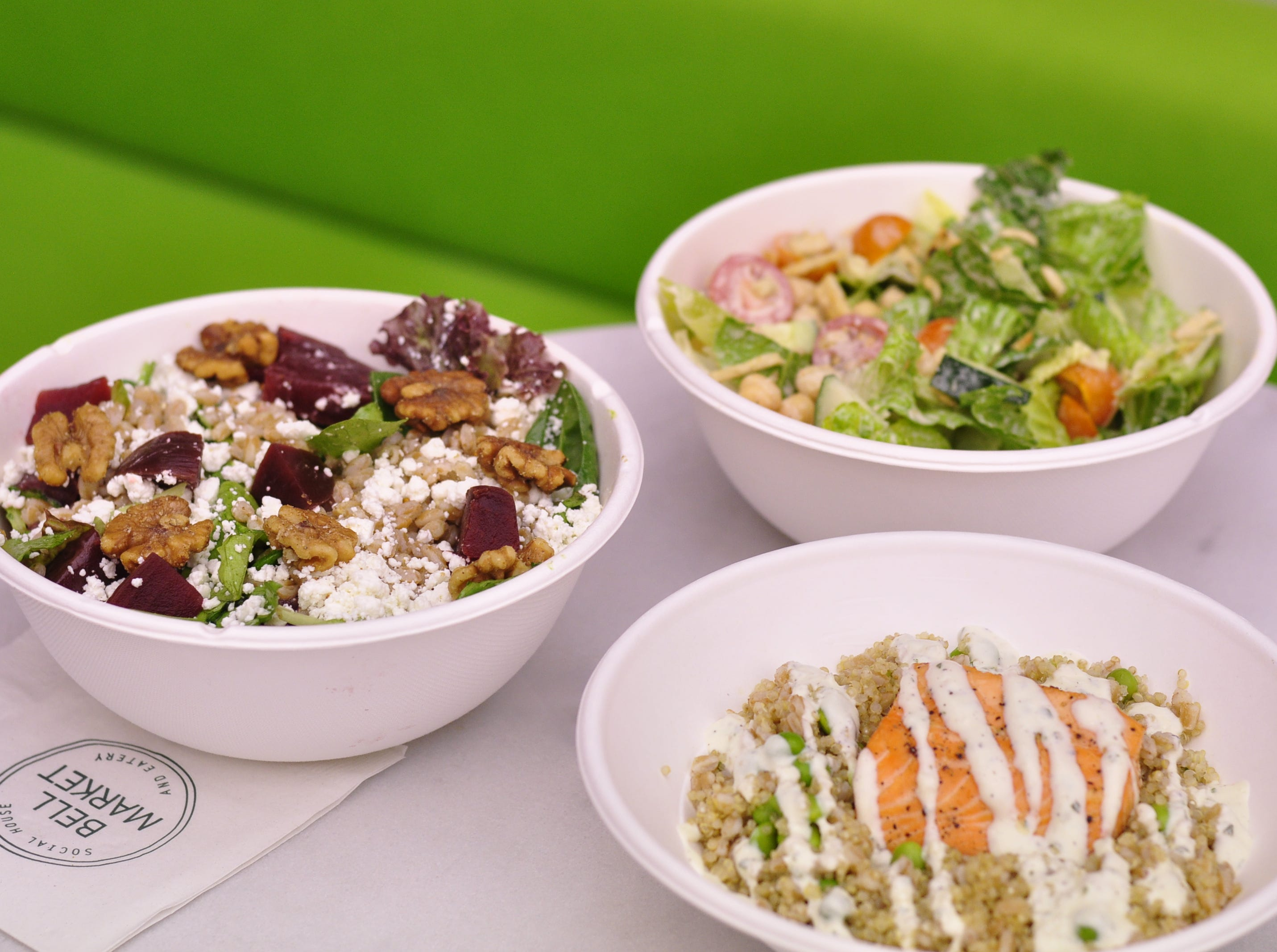 A selection of salads and grain bowls from Broadfork at Bell Market in Holmdel.