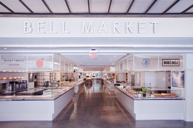 The entrance to the recently opened Bell Market, a food hall at Bell Works in Holmdel.