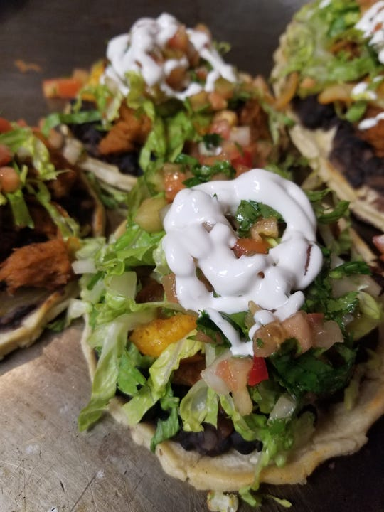 At Luna Verde in Bradley Beach, sopes are topped with vegan versions of asada or al pastor, mushrooms, tofu or soy chicken.