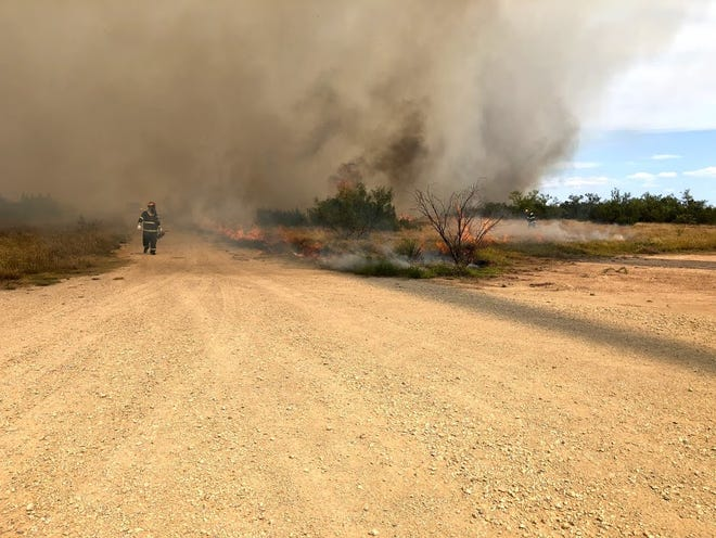 A shorted transformer is blamed for starting a wildfire that grew to 487 acres near Maryneal on Wednesday, Aug. 8, 2018.