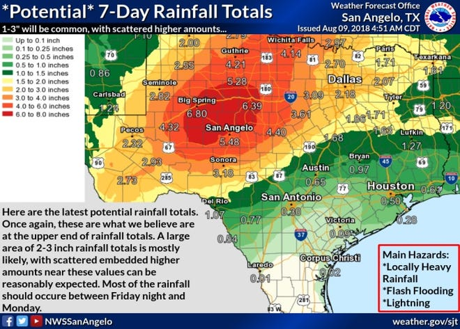 The National Weather Service is predicting rain the next few days -- up to 6 inches for the Abilene area.