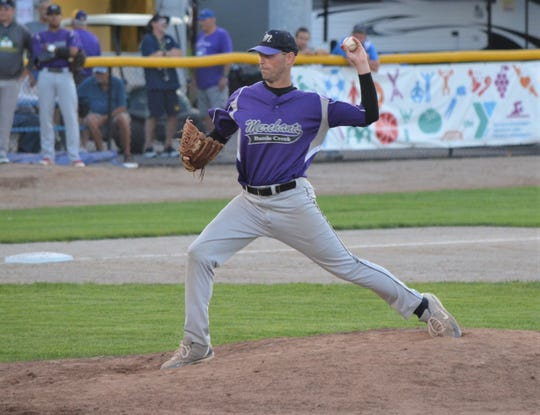 Battle Creek Merchants starting pitcher Reggie Walters throws home during opening night of the NABF World Series on Wednesday at Bailey Park.