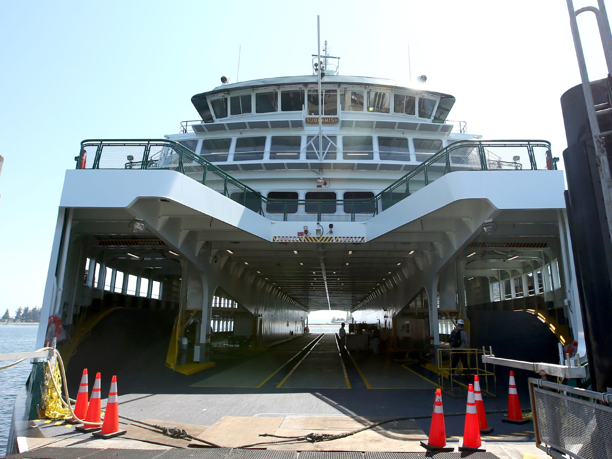 The Washington State Ferry Suquamish at the Eagle Harbor Maintenance Facility on Thursday, August 9, 2018.