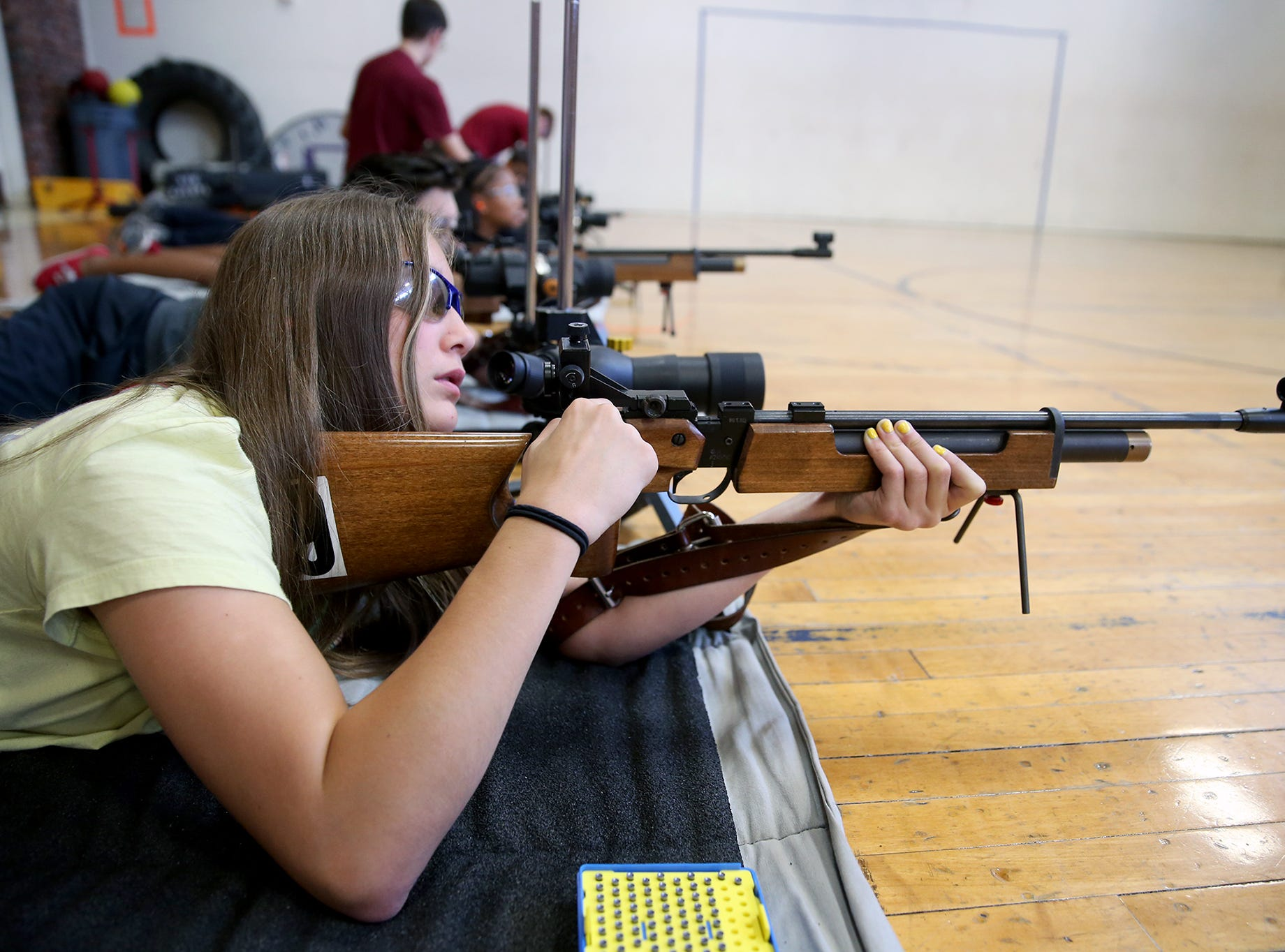Hailey Roberts, 15, of Port Orchard loads her air rifle at the South Kitsap High School NJROTC Wolf Battalion Rifle Camp runs from August 8-10, at the National Guard Armory in Port Orchard.The camp teaches rifle safety, and shooting technics.She is a student in the Sk NJROTC program,
