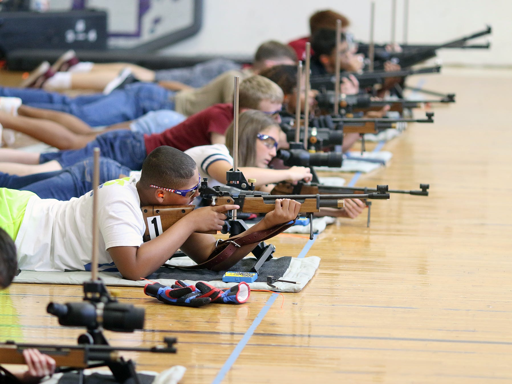 The South Kitsap High School NJROTC Wolf Battalion Rifle Camp runs from August 8-10, at the National Guard Armory in Port Orchard. The camp provides air rifle training the safe usage by expert instructor Jeff Phillips.