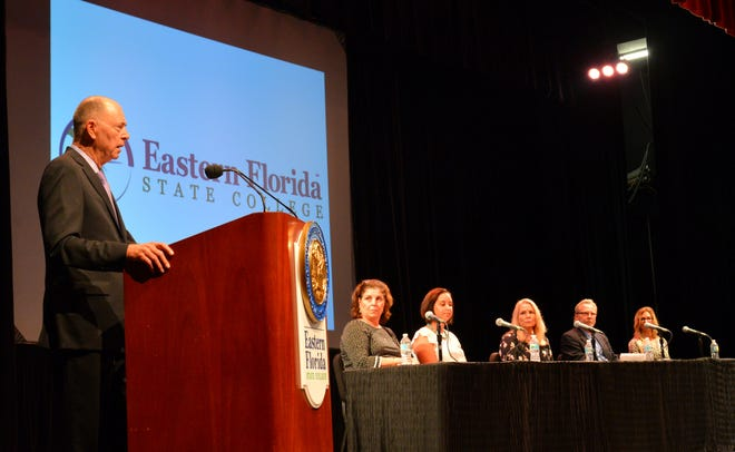 U.S. Rep. Bill Posey addresses the audience during the human trafficking symposium he hosted Thursday at the Eastern Florida State College Cocoa campus.