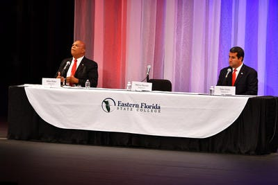 FLORIDA TODAY held a forum for House District 51 Wednesday night at Eastern Florida State College Cocoa Campus with candidates Mike Blake (Democrat) left, and Tyler Sirois (Republican.) Henry Parrish, a Republican, was not able to attend.