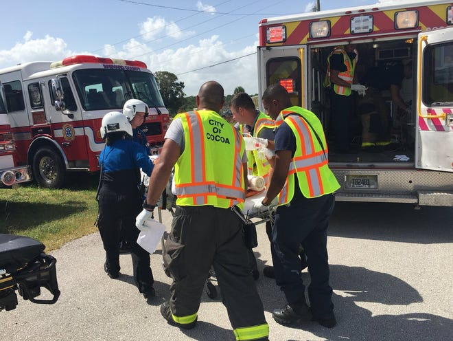 One person with serious injuries is stabilized by BCFR and Cocoa FD crews then transferred to @Health_First First Flight helo for a flight to a trauma center.