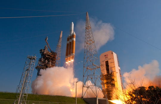 A Delta IV Heavy rocket lifts off from Cape Canaveral Air Force Station in 2012.
