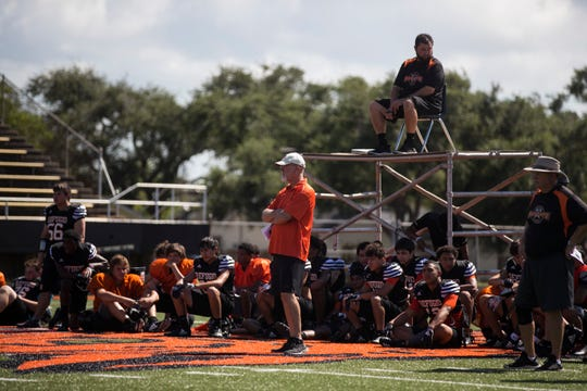 Refugio prepares for the upcoming football season at Bobcat Stadium on Thursday, August 9, 2018.