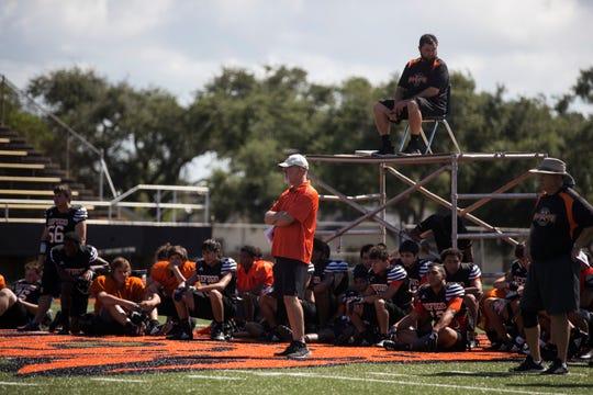 Refugio prepares for the upcoming football season at Bobcat Stadium on Thursday, August 9, 2018.