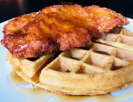 Chicken and Waffles start off a meal at The Red Hen in Swedesboro.