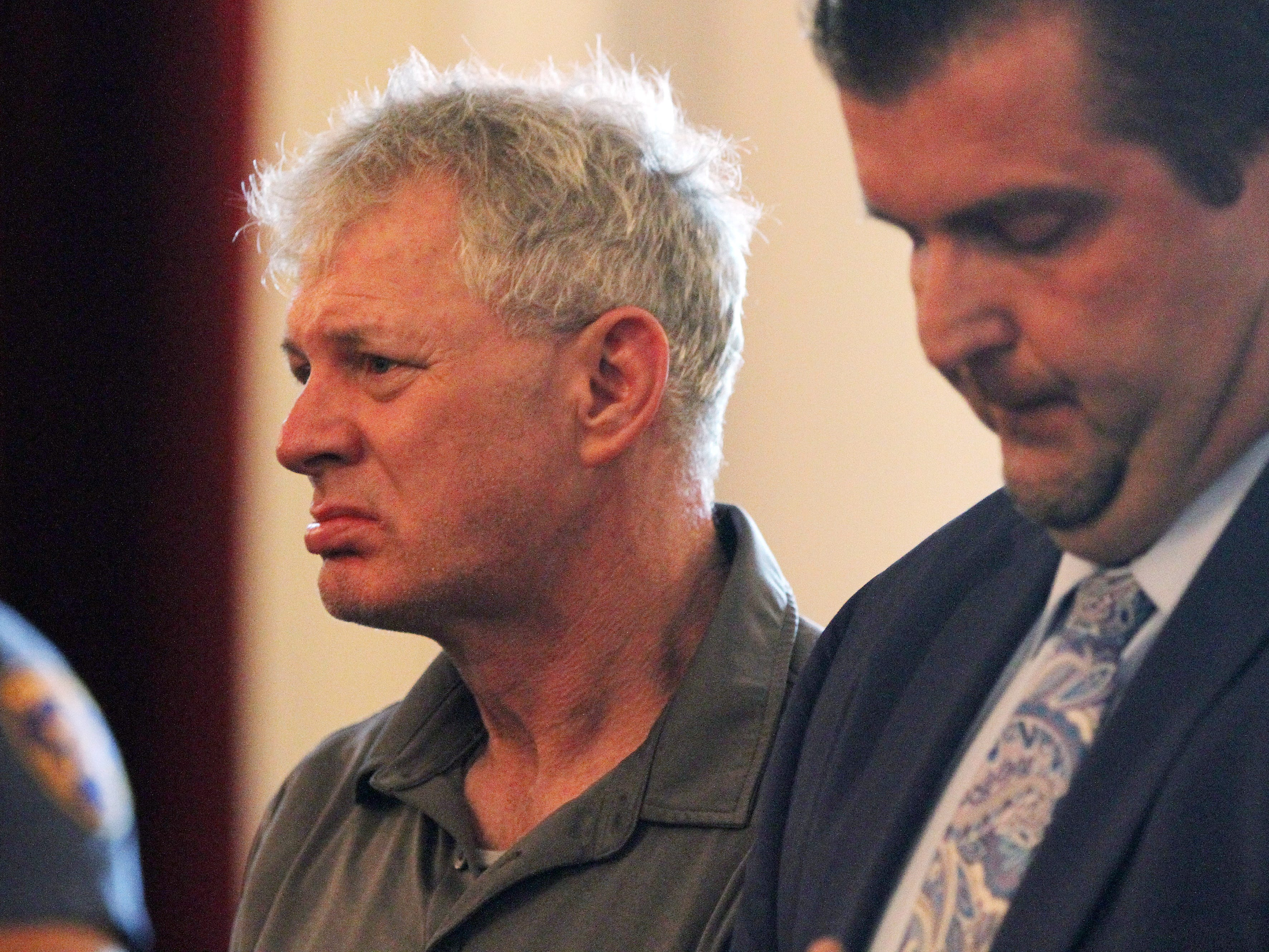 Former Major League Baseball player Lenny Dykstra, who is facing charges related to allegedly making terrorist threats against an Uber driver in Linden in May, rejects plea offer before Union County Superior Court Judge Joseph Donahue at Union County Courthouse in Elizabeth, NJ Thursday August 9, 2018. His case will go to the grand jury. His lawyer, Michael Brucki, stands next to him.