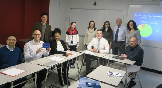 Berkeley College students use virtual reality technology to engage with course materials in a completely new way. Below (left to right): Members of the Berkeley College Virtual Reality Faculty Interest Group include: Azam Rahman, School of Health Studies; James Pacello, Developmental Education, EdD; Esteban Rodriguez, Syleecia Thompson, DBA, Management, Larry L. Luing School of Business®; Judit Torok, Humanities and Social Studies, School of Liberal Arts, and Director, Teaching and Learning Commons; Victoria Ghilardi, Instructional Design Assistant, Teaching and Learning Commons; Matthew LaBrake, Senior Director, Online Library and Technology Services; Darshan Desai, PhD, Management, Larry L. Luing School of Business; Rahul Bedi, PhD, Chair, Management, Larry L. Luing School of Business; Valbona Gjoligaj, Management, Larry L. Luing School of Business; Anthony Girardo, Management, Larry L. Luing School of Business, and Assistant Director, Teaching and Learning Commons.