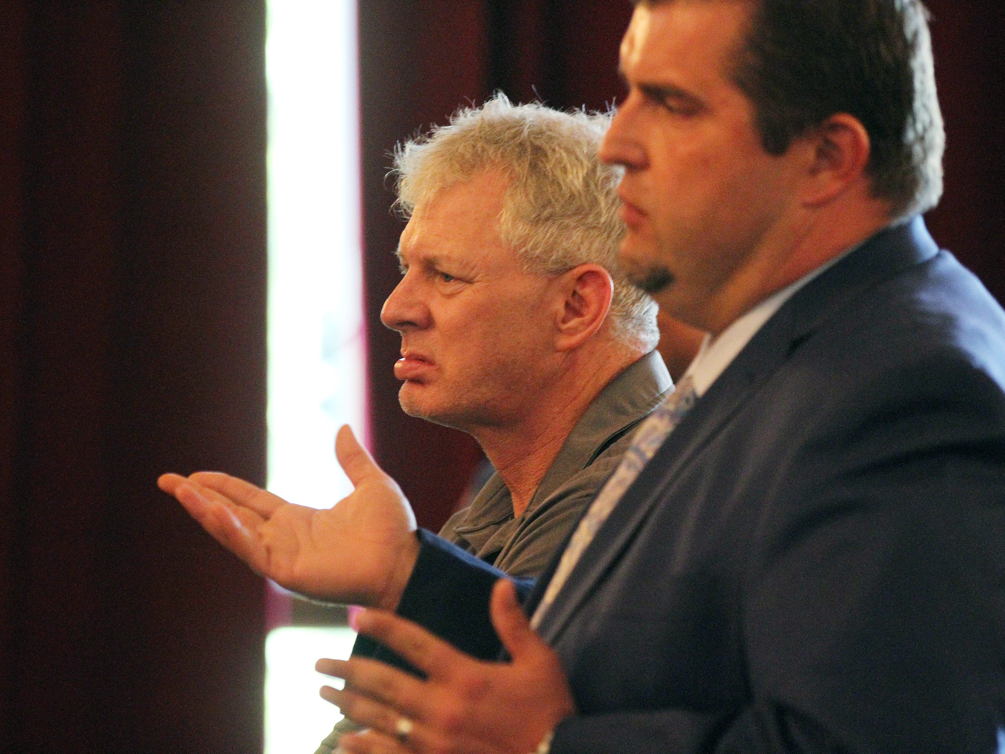 Former Major League Baseball player Lenny Dykstra, who is facing charges related to allegedly making terrorist threats against an Uber driver in Linden in May, rejects plea offer before Union County Superior Court Judge Joseph Donahue at Union County Courthouse in Elizabeth, NJ Thursday August 9, 2018. His case will go to the grand jury. His lawyer, Michael Brucki, speaks on his behalf.