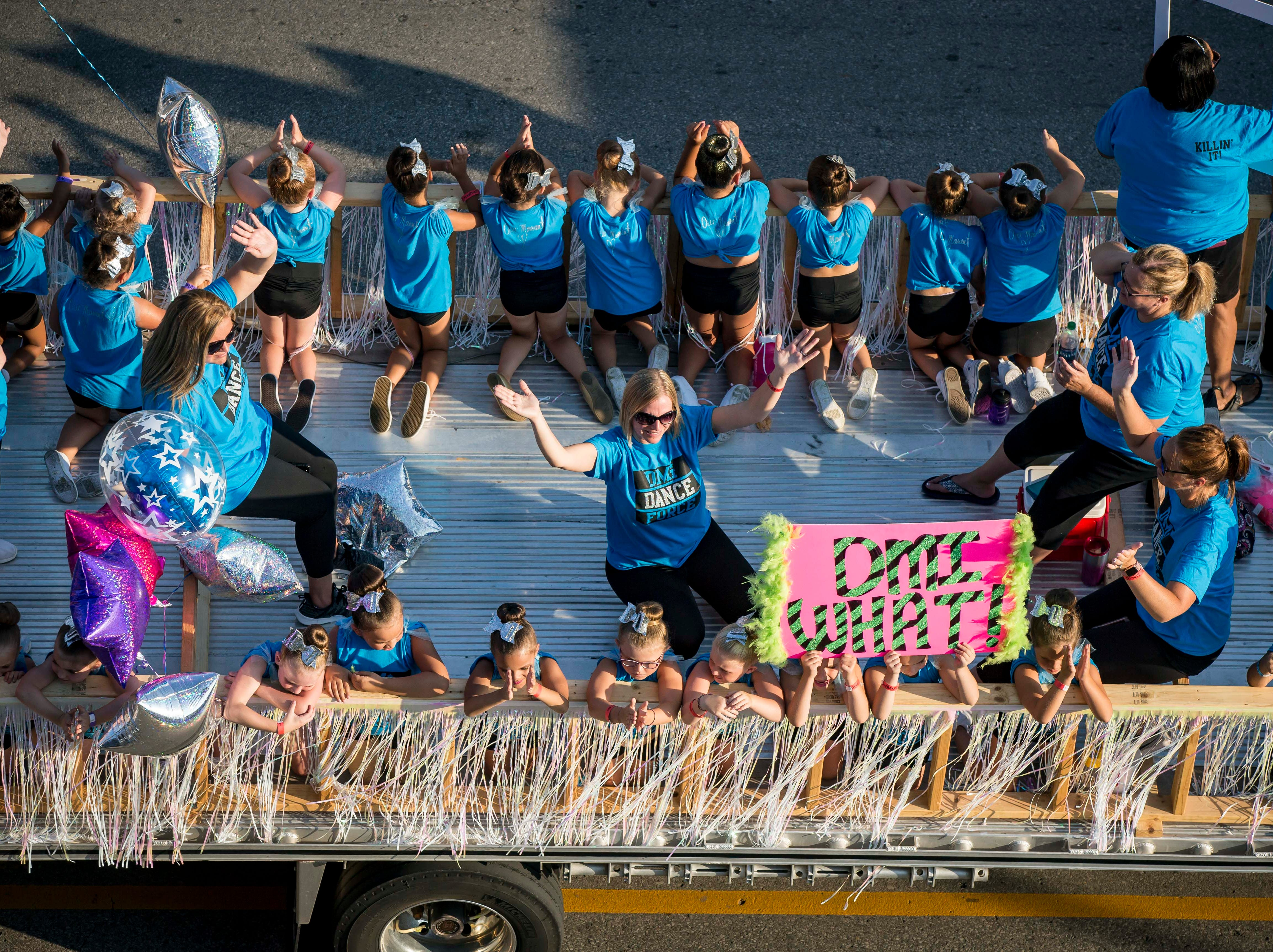 DMI Dance Force of Des Moines is represented in the 2018 Iowa State Fair parade from the Statehouse to downtown Des Moines Wednesday, Aug. 8, 2018.