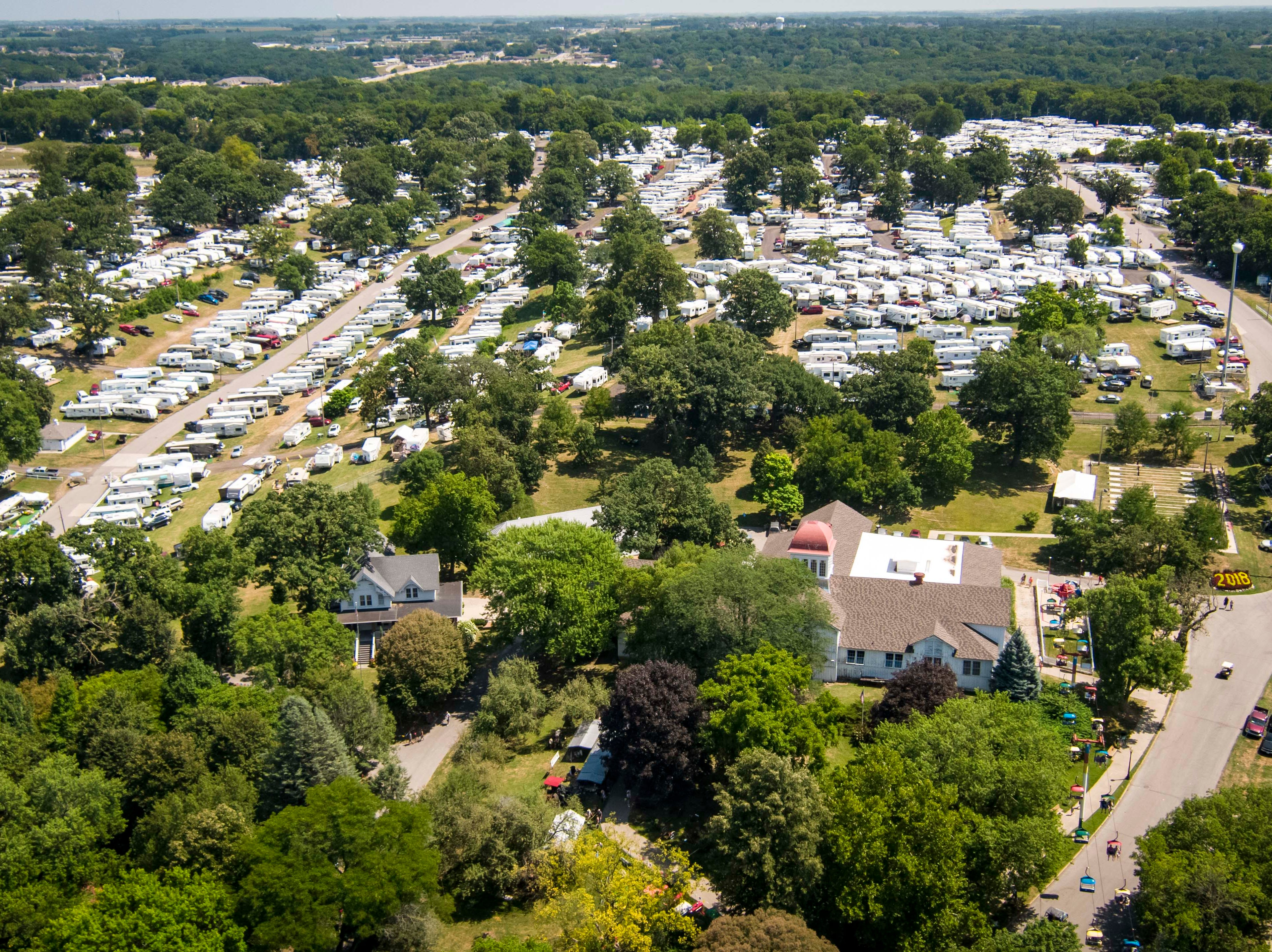 Aerial view of the fair campgrounds at the 2018 Iowa State Fair in Des Moines Thursday, Aug. 9, 2018.