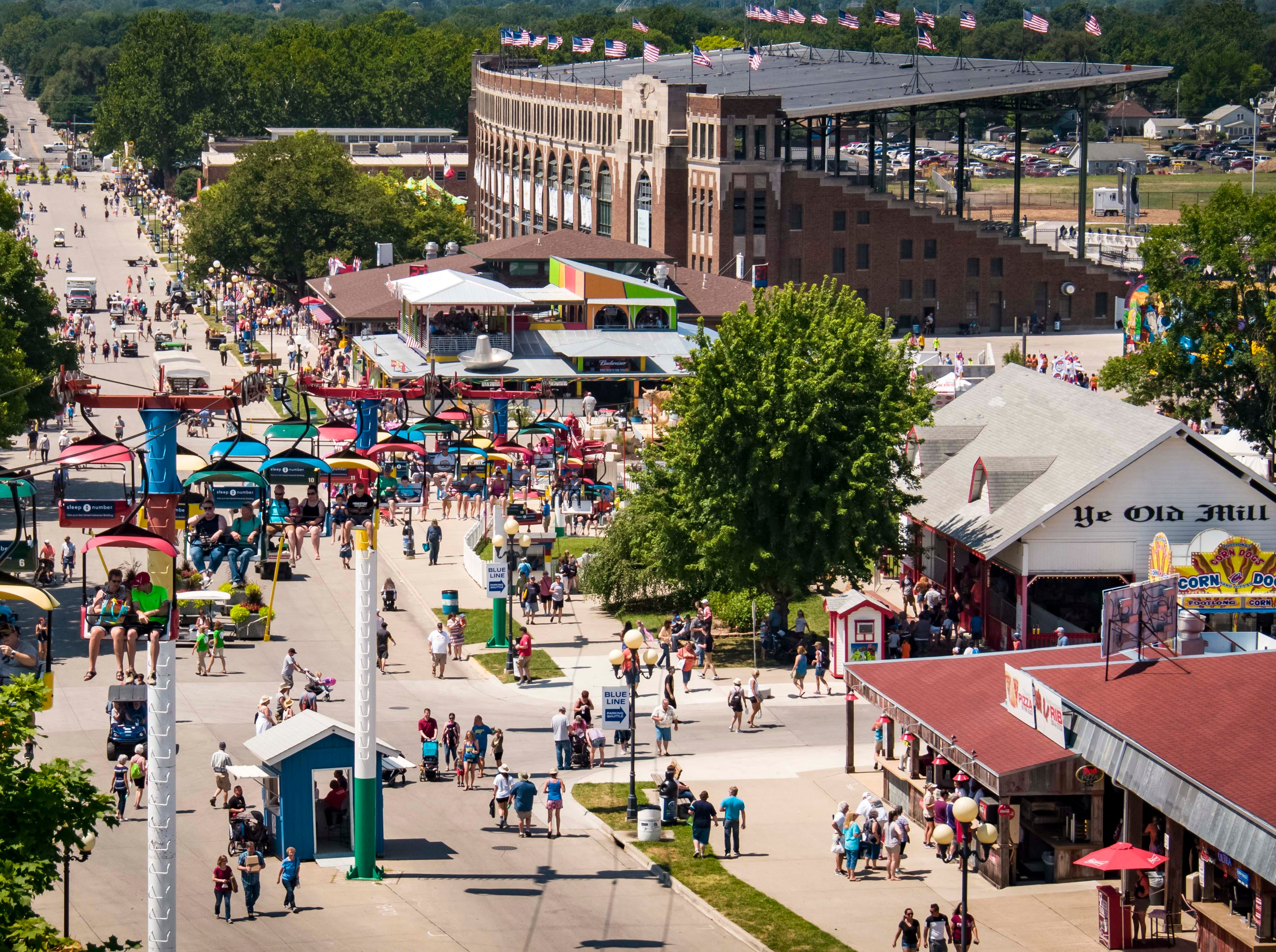 Aerial view of the grand concourse at the 2018 Iowa State Fair in Des Moines Thursday, Aug. 9, 2018.