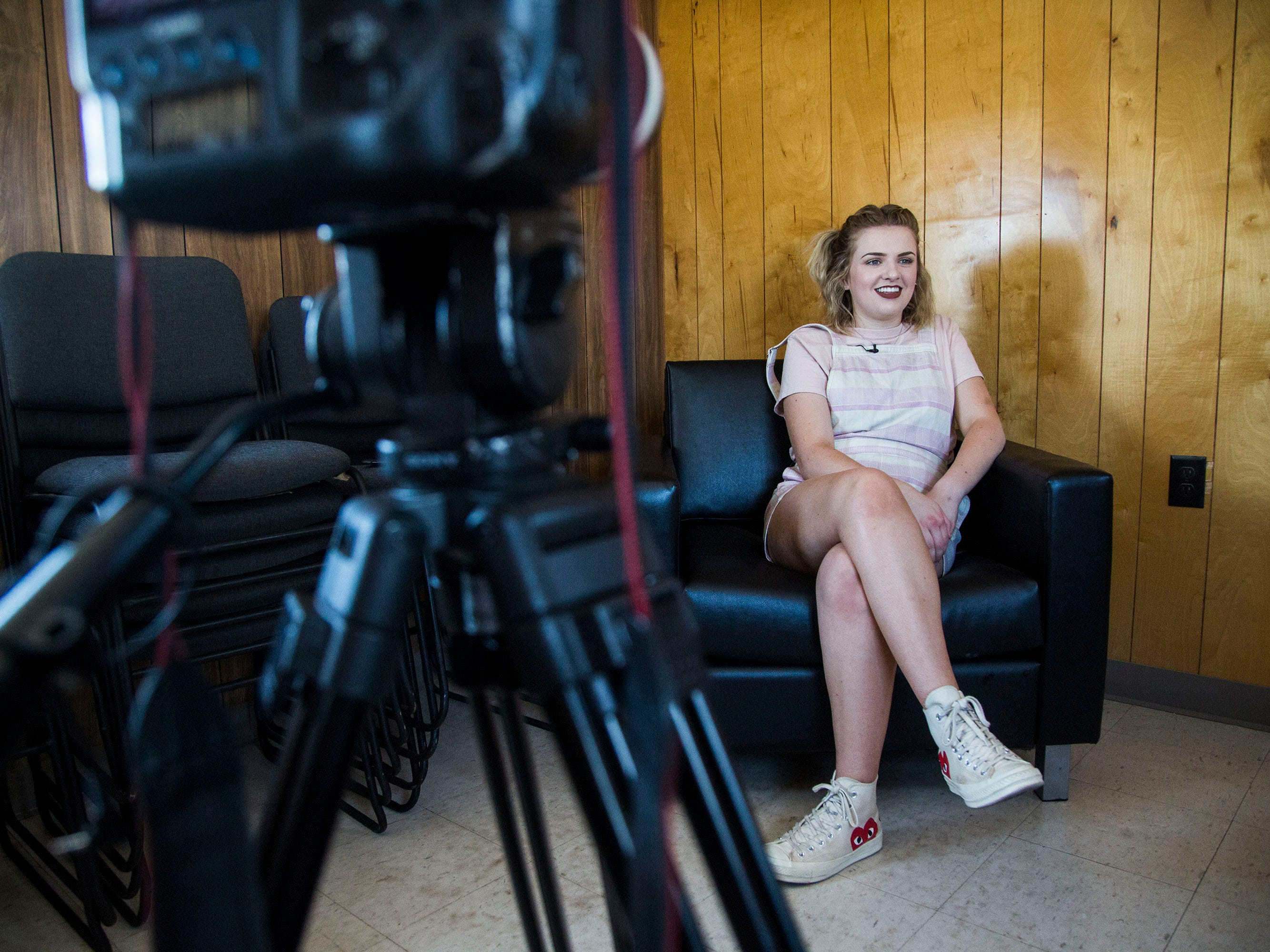 Maddie Poppe, winner of season 16 of American Idol and Iowa native, gives an interview after attending the opening ceremonies for the Iowa State Fair on Thursday, August 9, 2018, in Des Moines.