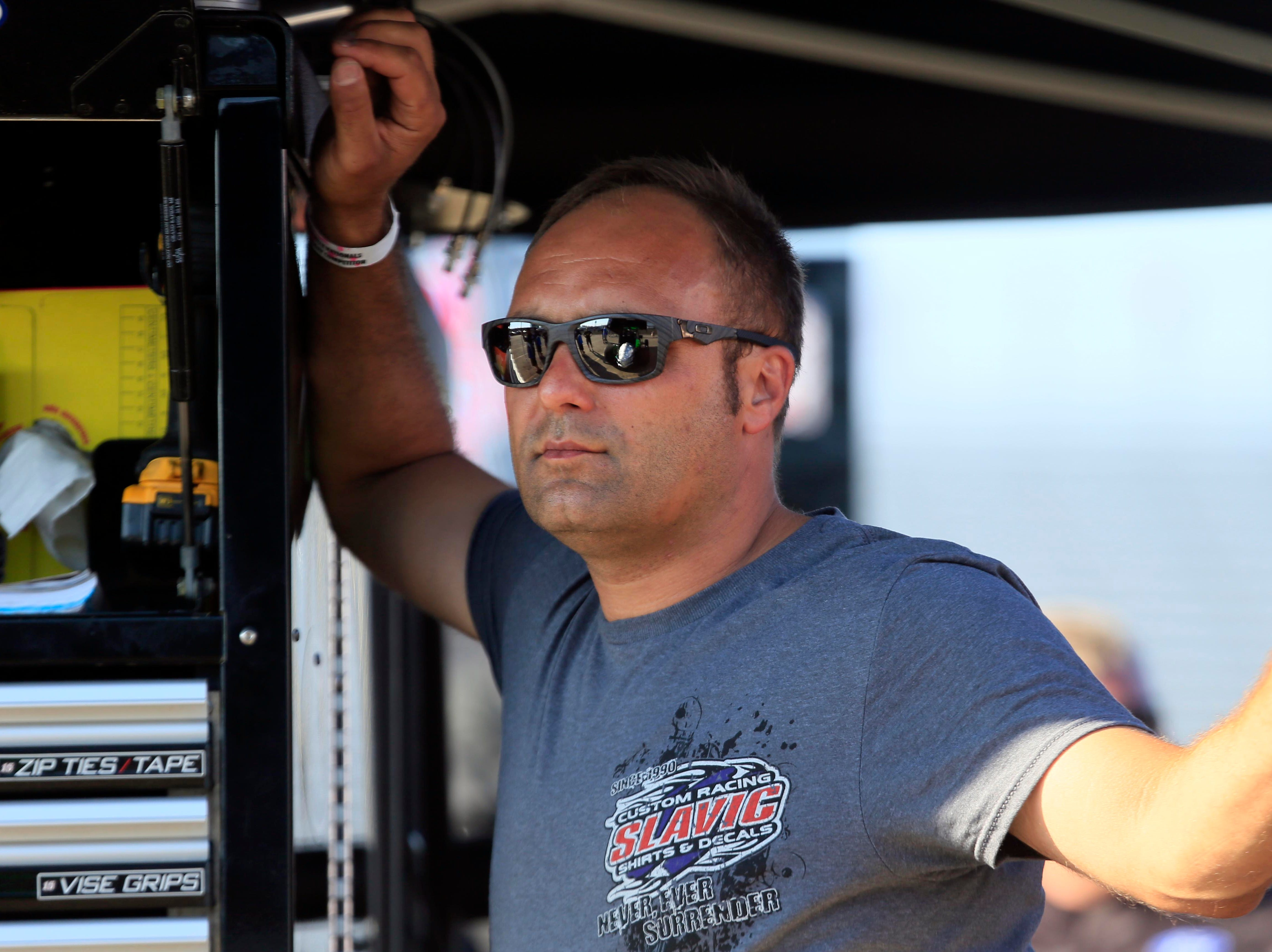 Driver Donny Schatz in the pits during the Knoxville Nationals Wednesday, Aug. 8, 2018.