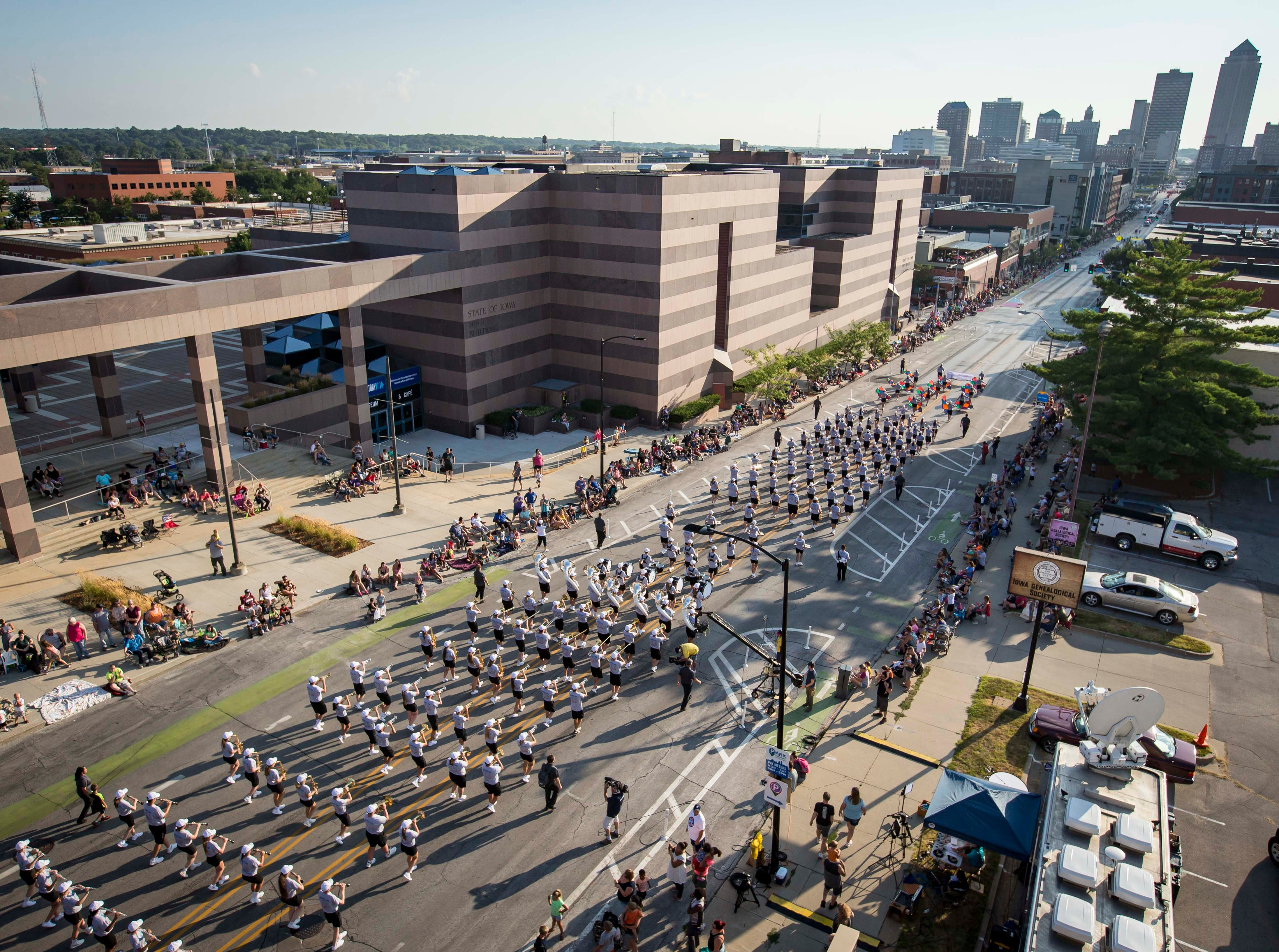 Members of the Southwest Iowa Honor Marching Band march during the 2018 Iowa State Fair parade from the Statehouse to downtown Des Moines Wednesday, Aug. 8, 2018. The Iowa State Fair runs from Aug. 9Ð19.