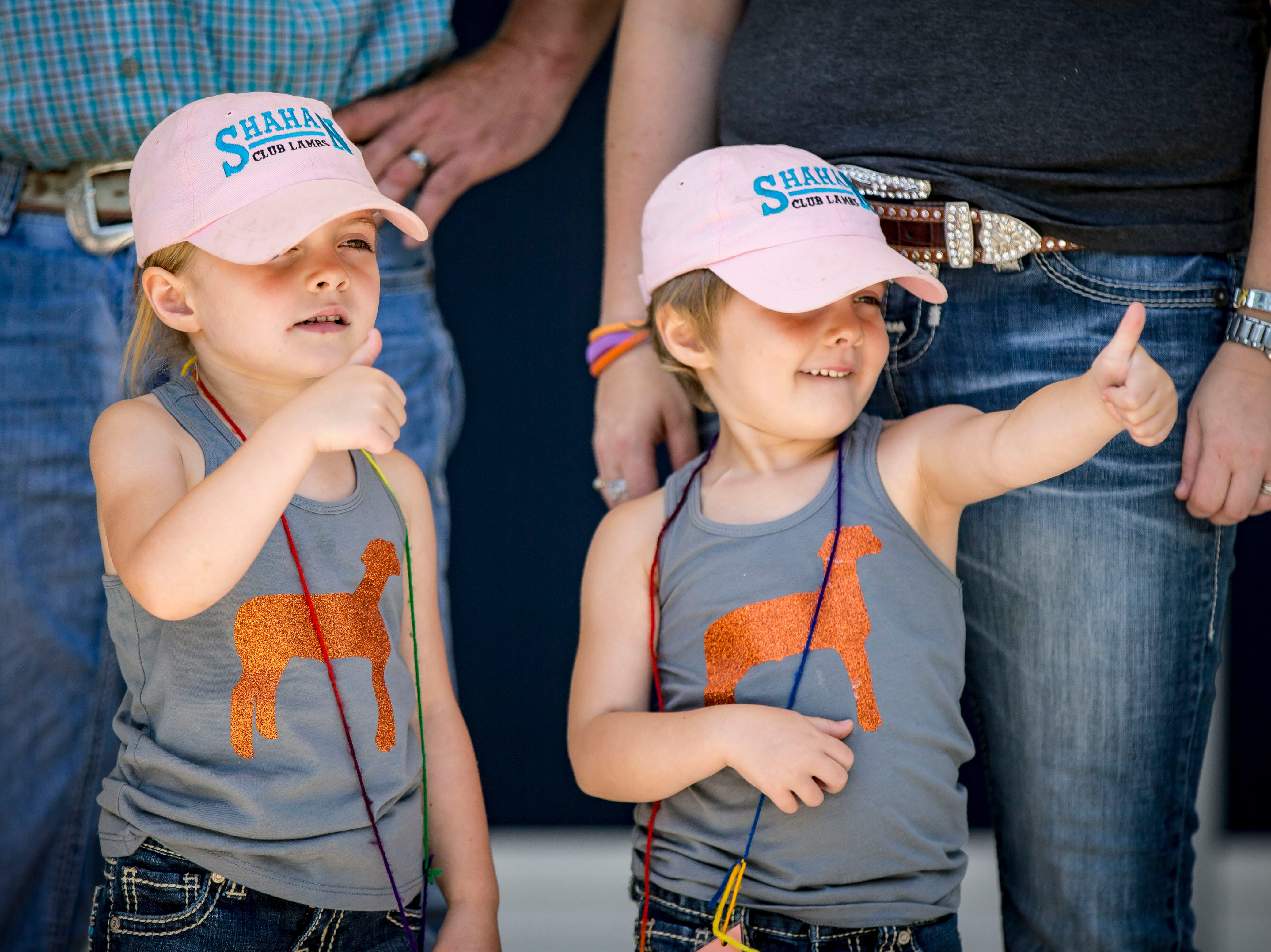 Becca, left, and Avril Shahan of Jefferson compete in the four-year-old most alike category during the Twins, Triplets and More Contest on the Anne and Bill Riley Stage at the 2018 Iowa State Fair in Des Moines Thursday, Aug. 9, 2018.