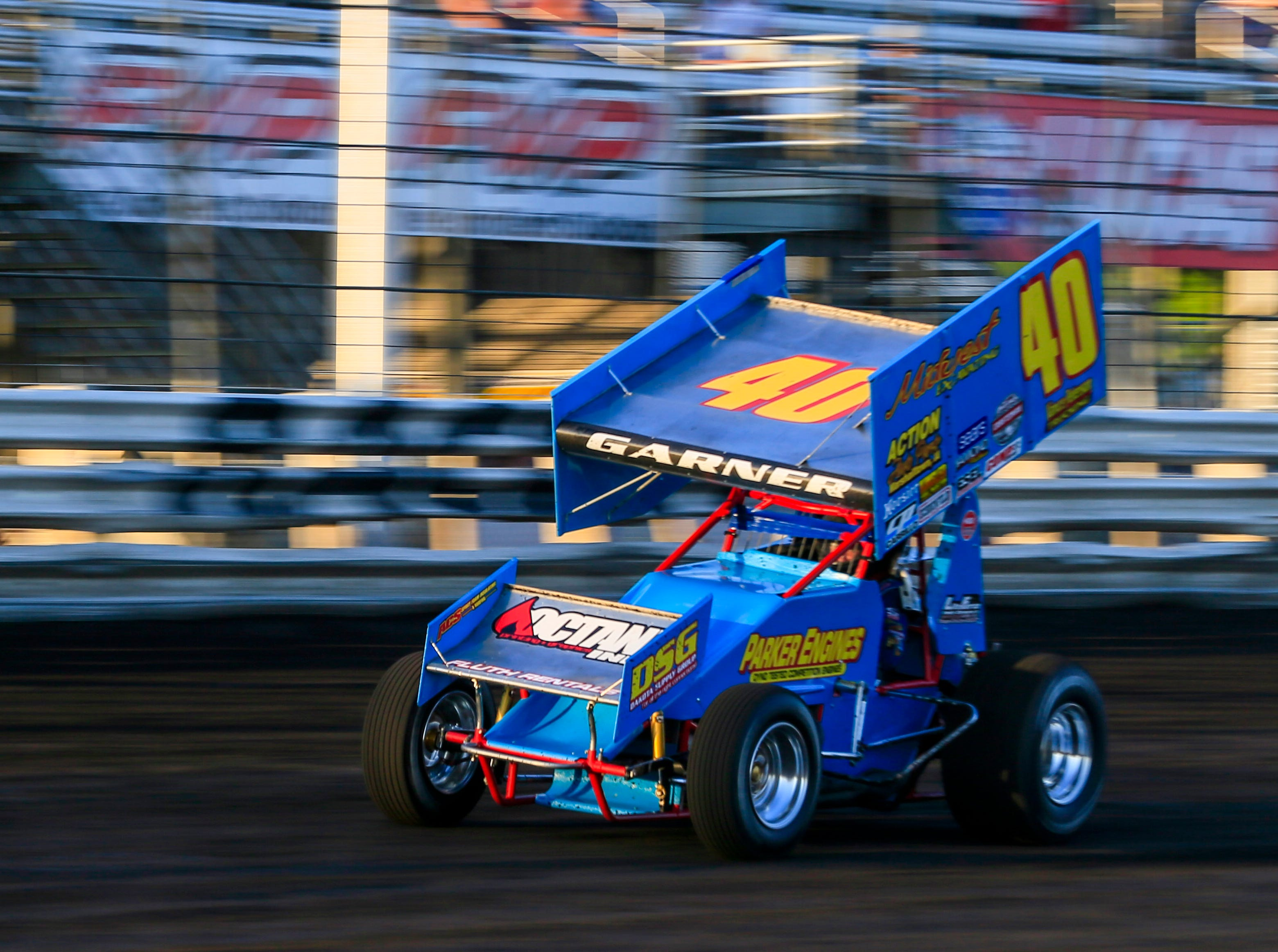 Clint Garner during the Knoxville Nationals Wednesday, Aug. 8, 2018.