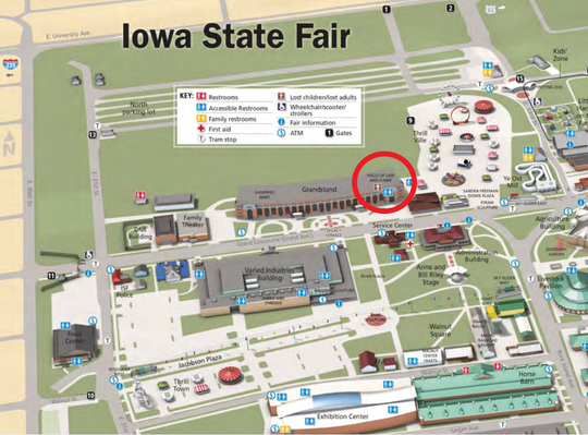 Find safety wristbands for children at the Hall of Law and Flame or at any information booth at the Iowa State Fair.