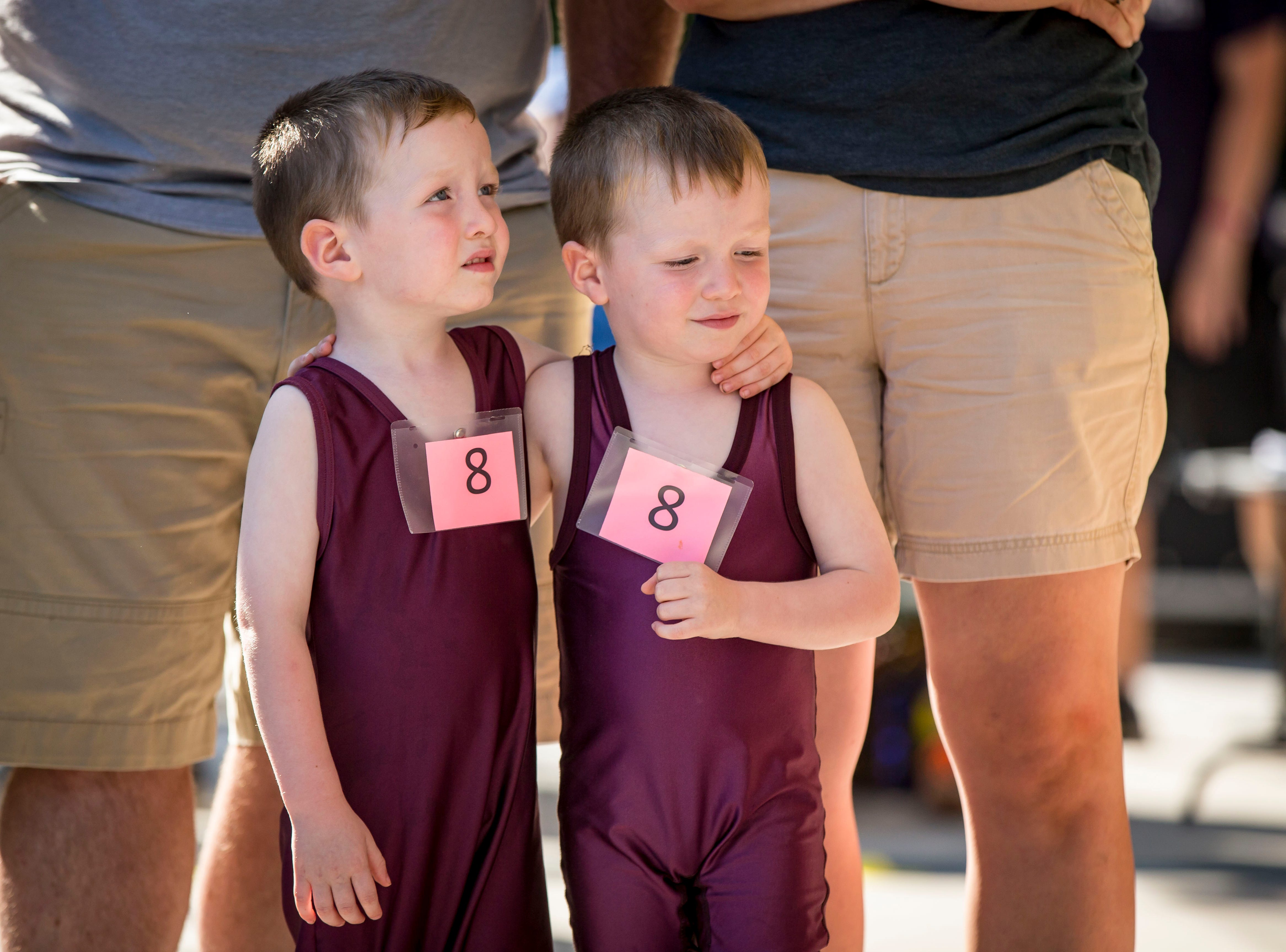 Malcolm, left, and William Dix of Mt. Vernon compete during the Twins, Triplets and More Contest on the Anne and Bill Riley Stage at the 2018 Iowa State Fair in Des Moines Thursday, Aug. 9, 2018.