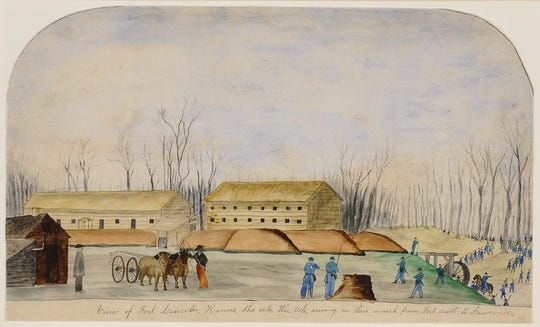 John Gaddis, Scene Of Fort Lincoln Kansas A Temporary Fort Constructed In 1861