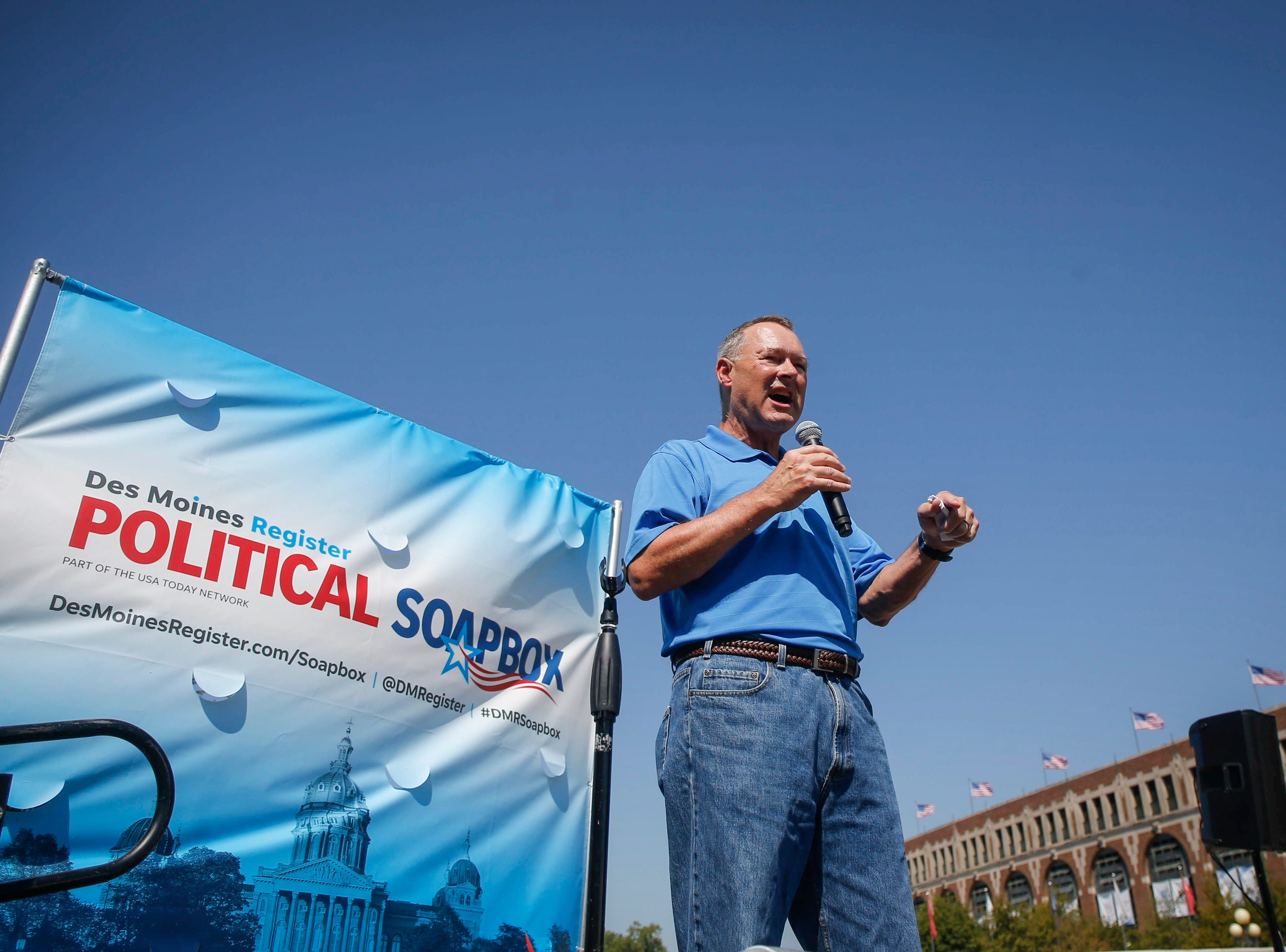 Iowa Treasurer Michael Fitzgerald speaks at the Des Moines Register Political Soapbox during the Iowa State Fair in Des Moine.