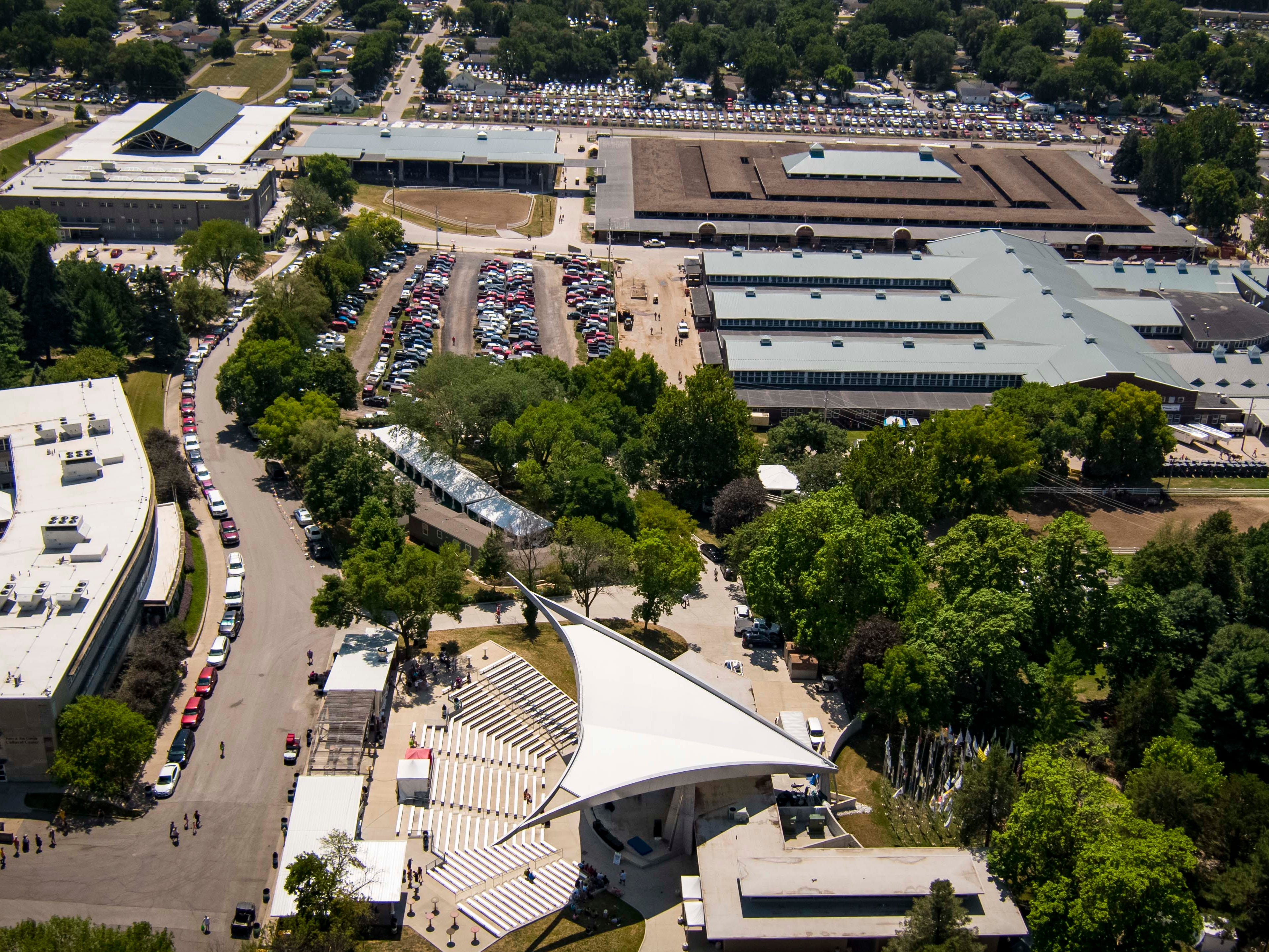 Aerial view of the southeast corner of the fairgrounds at the 2018 Iowa State Fair in Des Moines Thursday, Aug. 9, 2018.