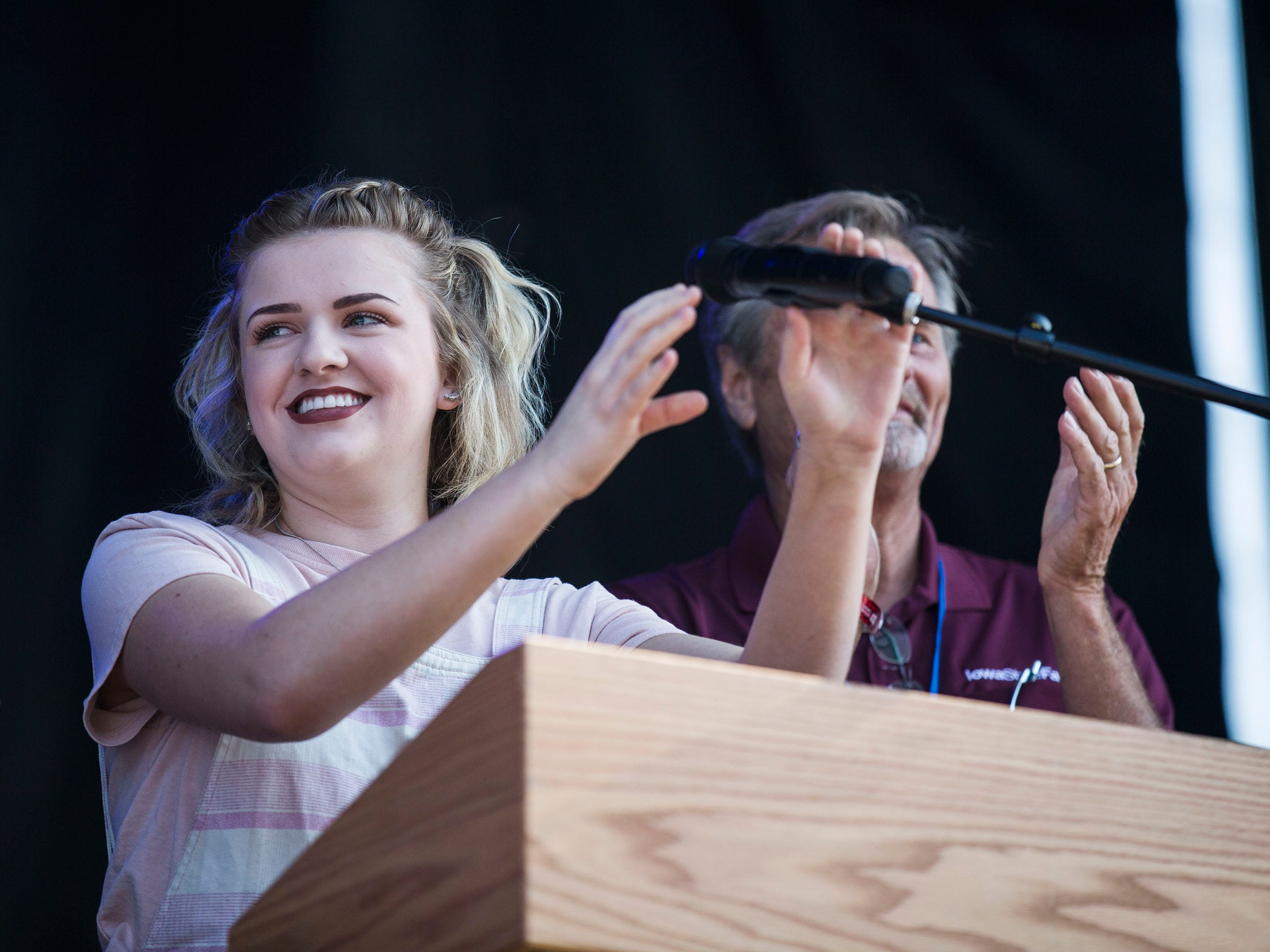 Maddie Poppe, winner of season 16 of American Idol and Iowa native, sings the national anthem during the opening ceremonies for the Iowa State Fair on Thursday, August 9, 2018, in Des Moines.