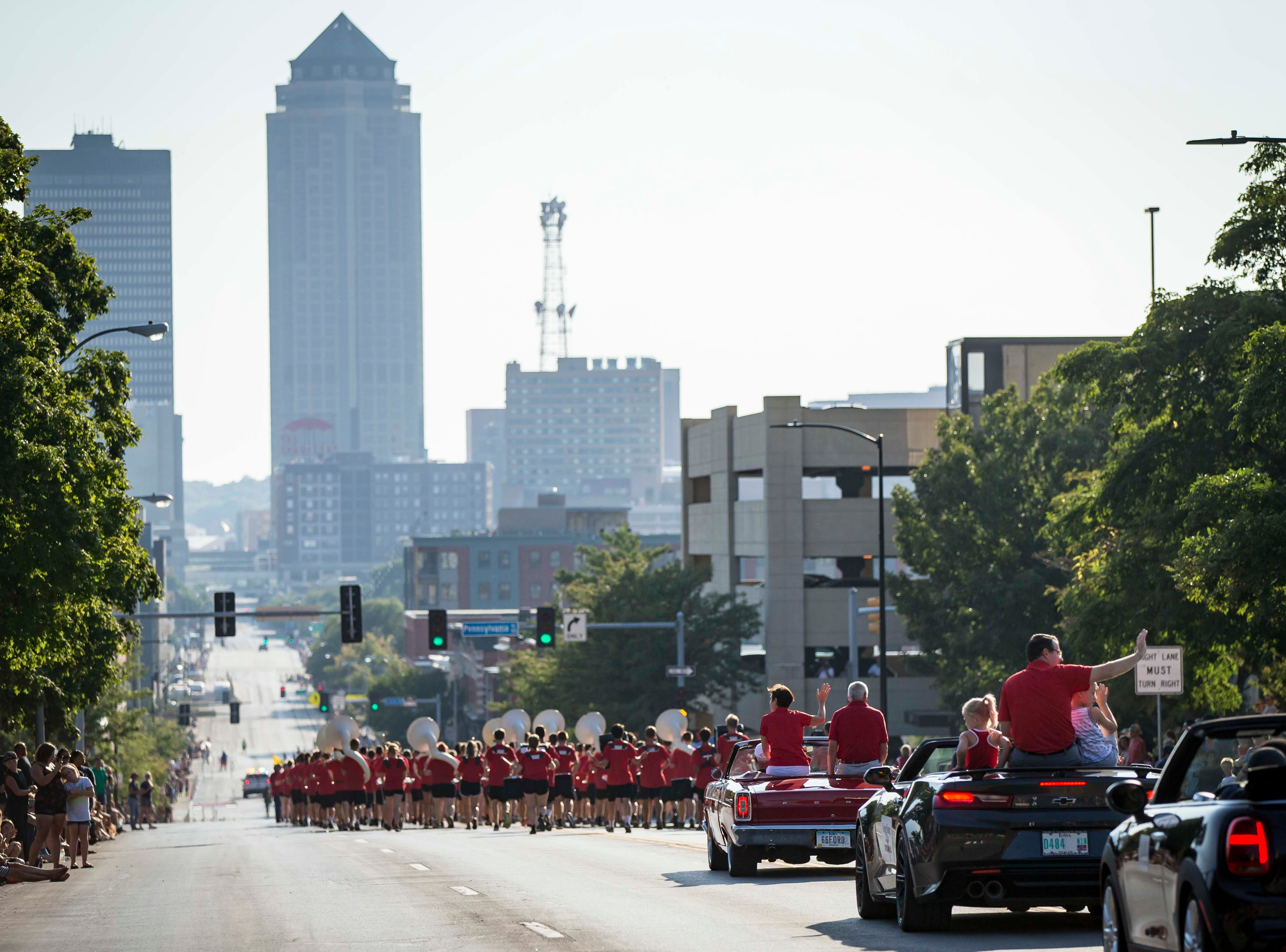 The 2018 Iowa State Fair parade follows Grand Ave. from the Statehouse to downtown Des Moines Wednesday, Aug. 8, 2018. The Iowa State Fair runs from Aug. 9Ð19.