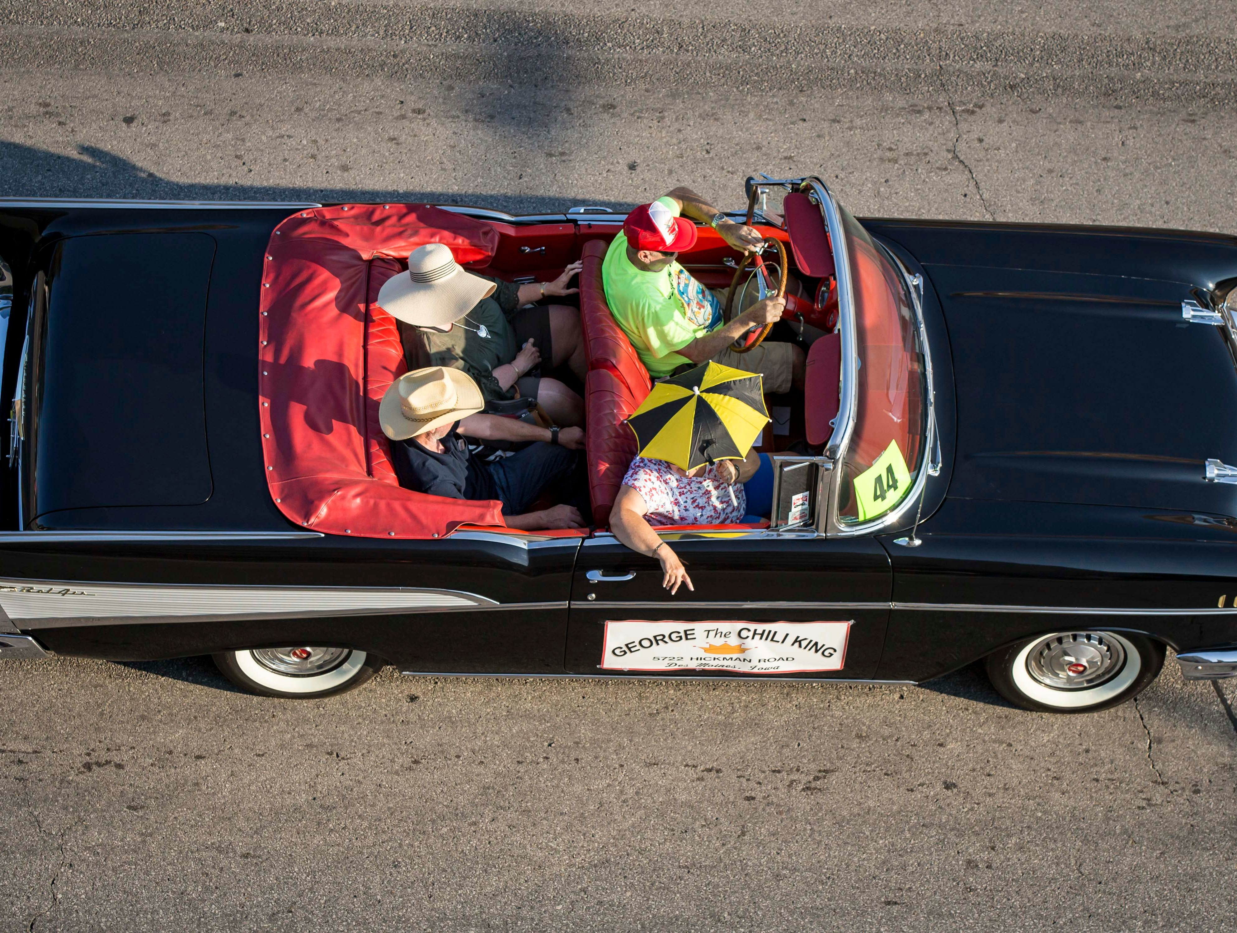 George the Chili King is represented in the 2018 Iowa State Fair parade from the Statehouse to downtown Des Moines Wednesday, Aug. 8, 2018. The Iowa State Fair runs from Aug. 9Ð19.