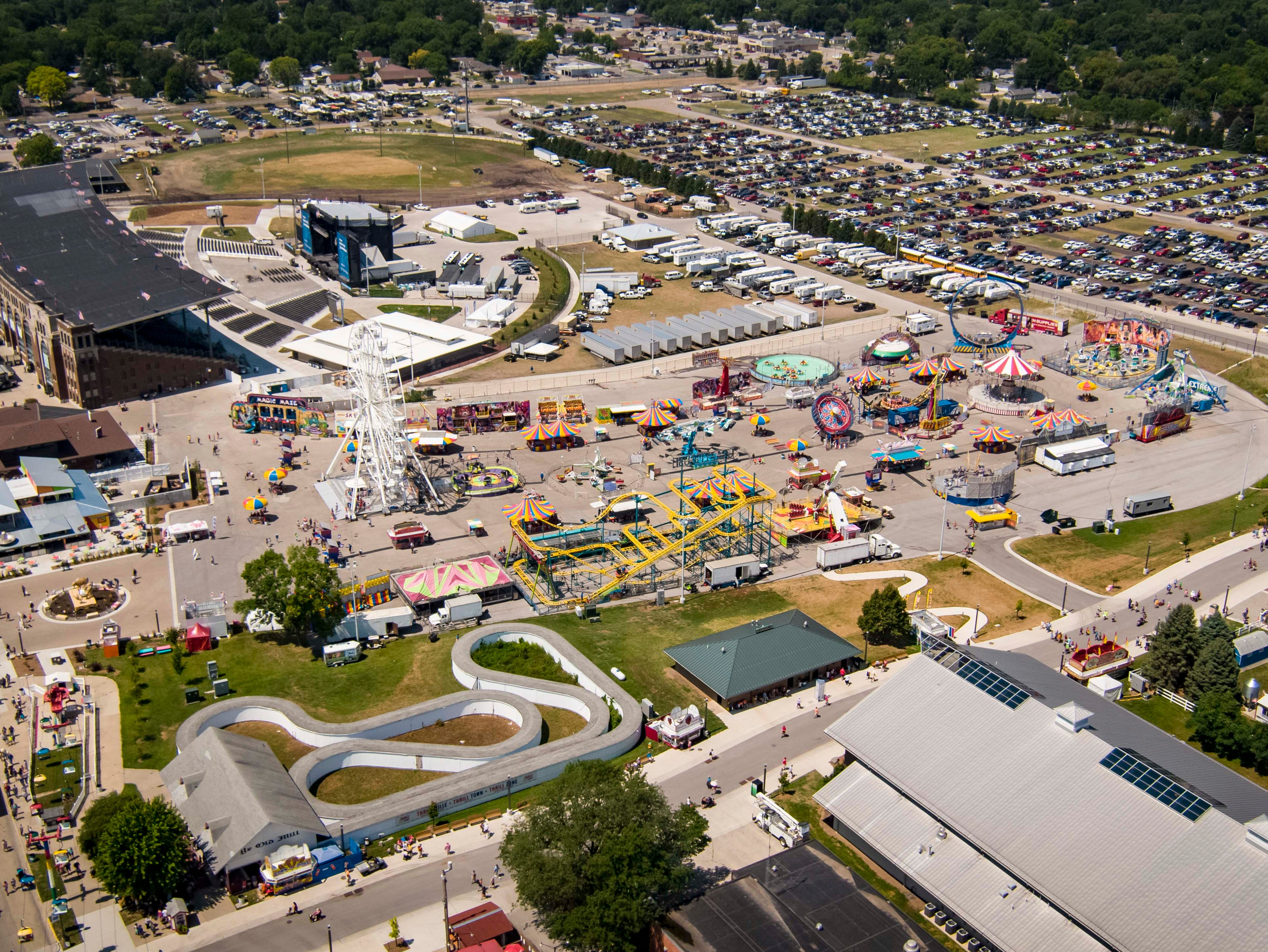 Aerial view of the new grandstand and midway  at the 2018 Iowa State Fair in Des Moines Thursday, Aug. 9, 2018.